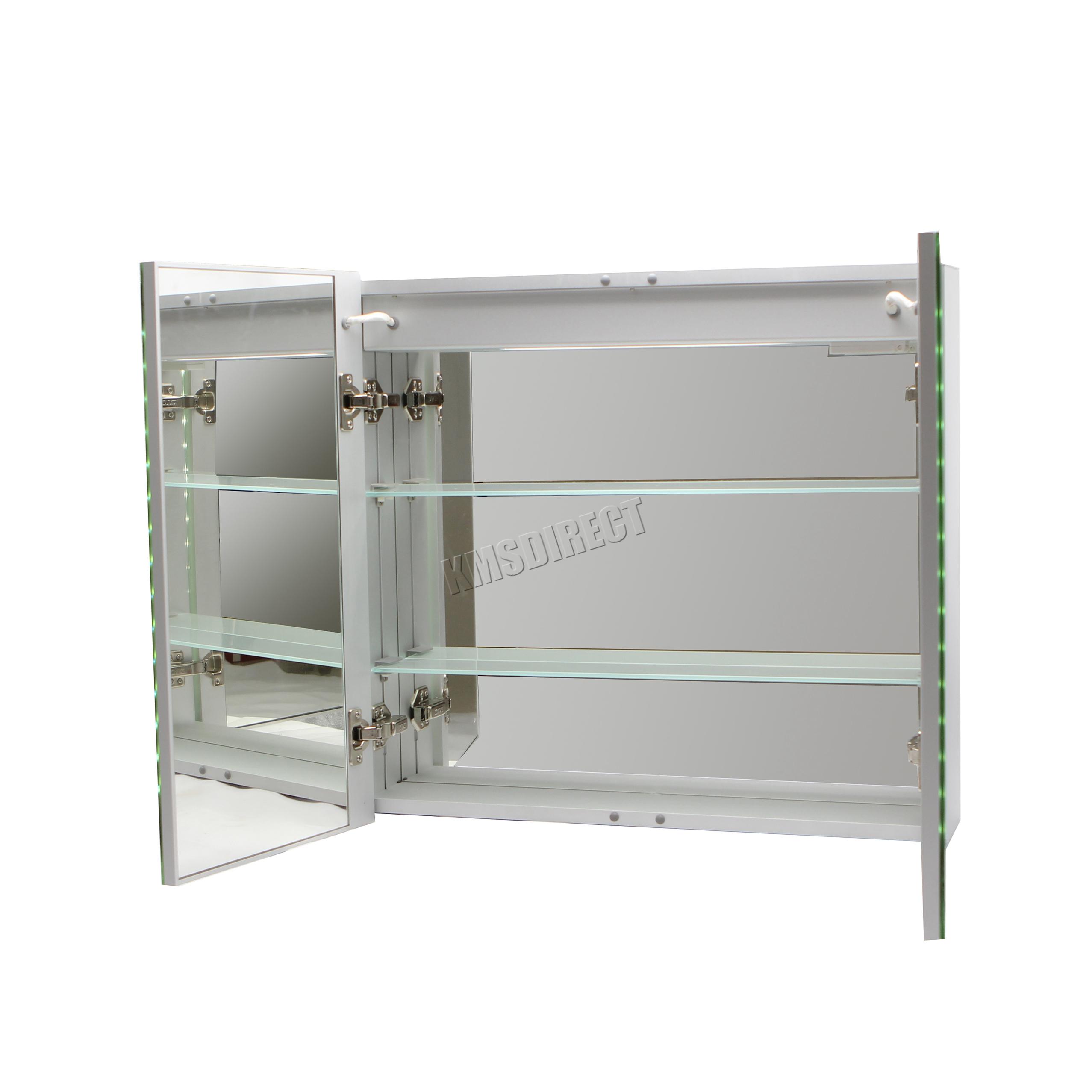 foxhunter led beleuchtet spiegel badezimmer schrank stahl schrank sensor ebay. Black Bedroom Furniture Sets. Home Design Ideas