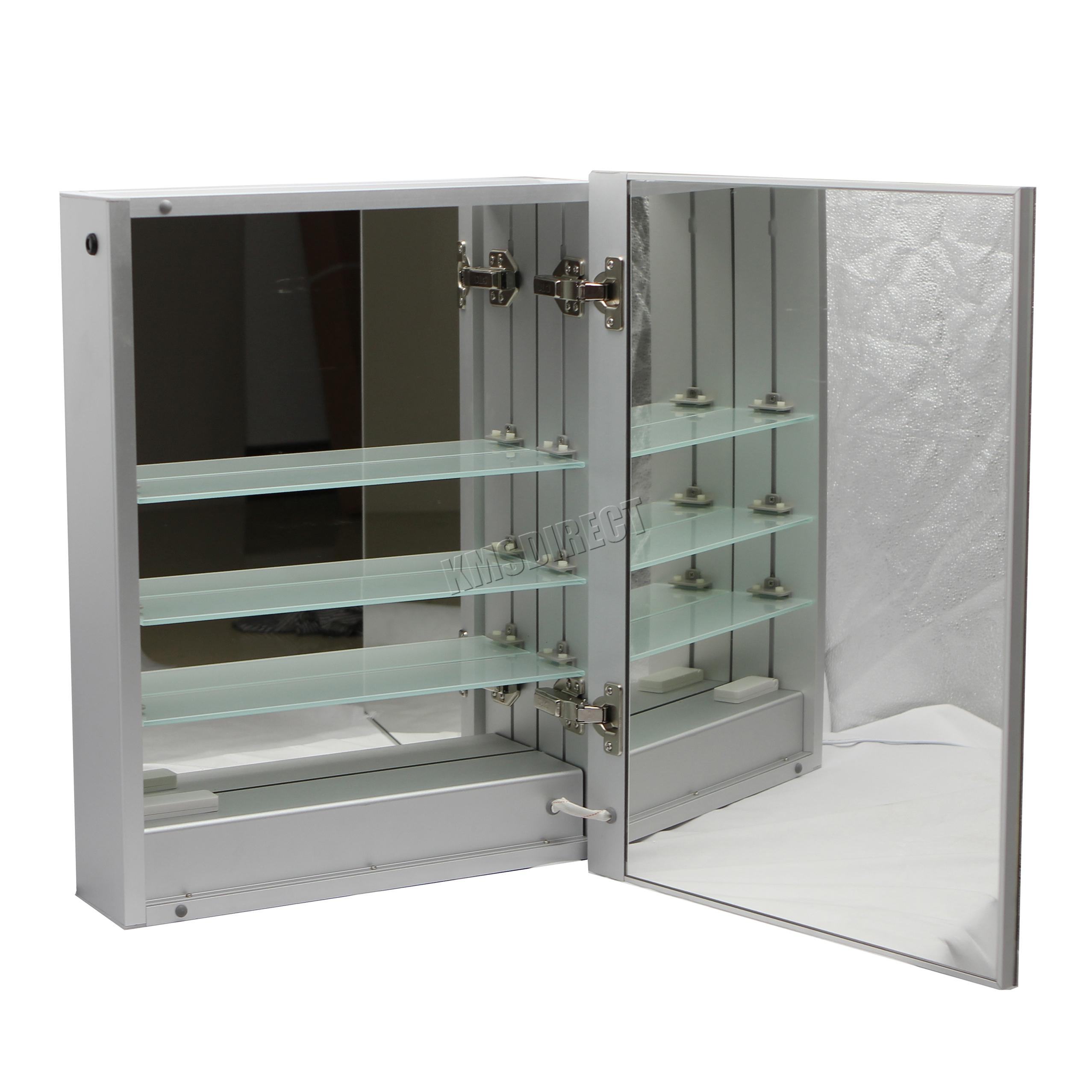 Foxhunter iluminado con luces led espejo gabinete de ba o acero almacenaje ebay - Espejo con almacenaje ...