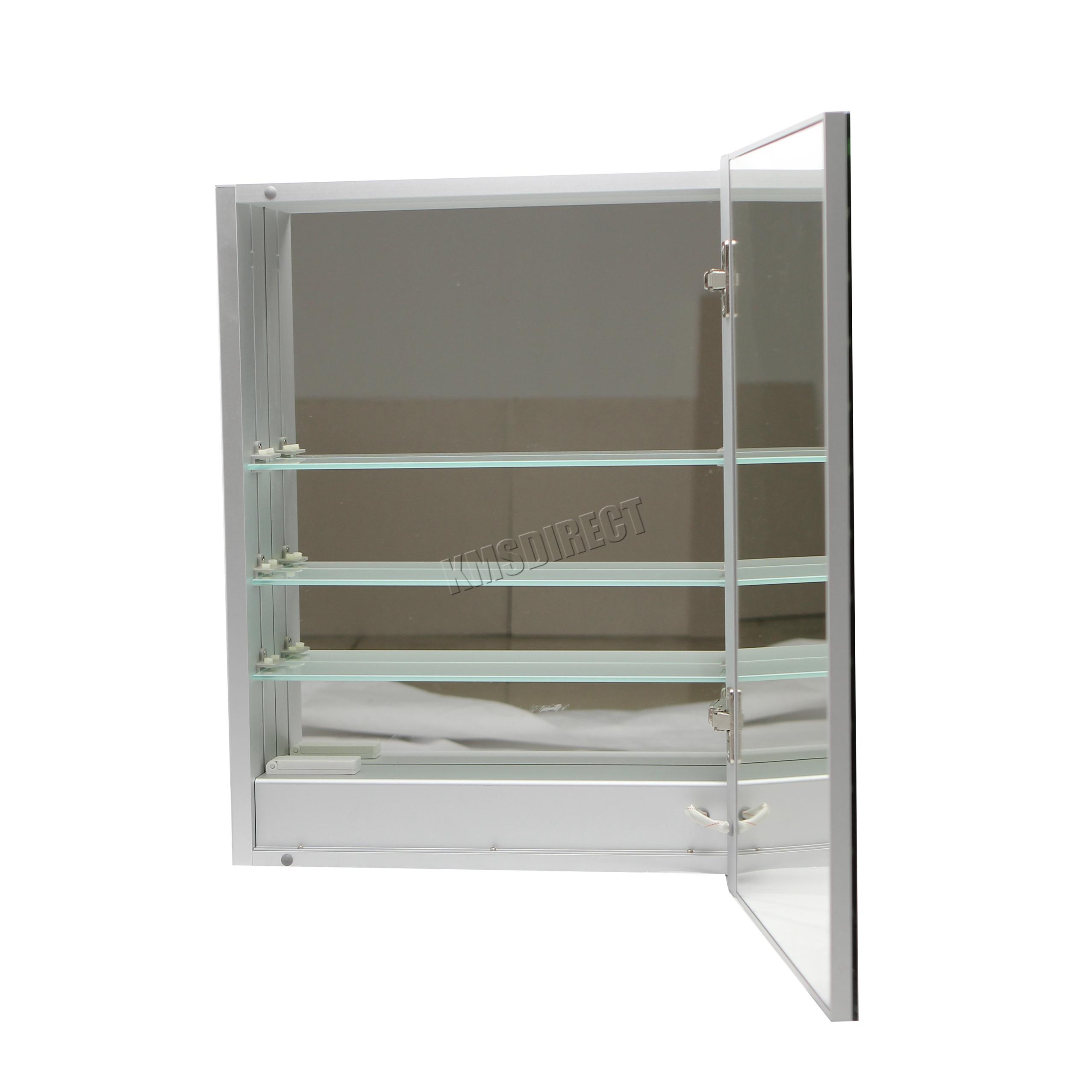 foxhunter led beleuchtet spiegel badezimmer schrank stahl. Black Bedroom Furniture Sets. Home Design Ideas