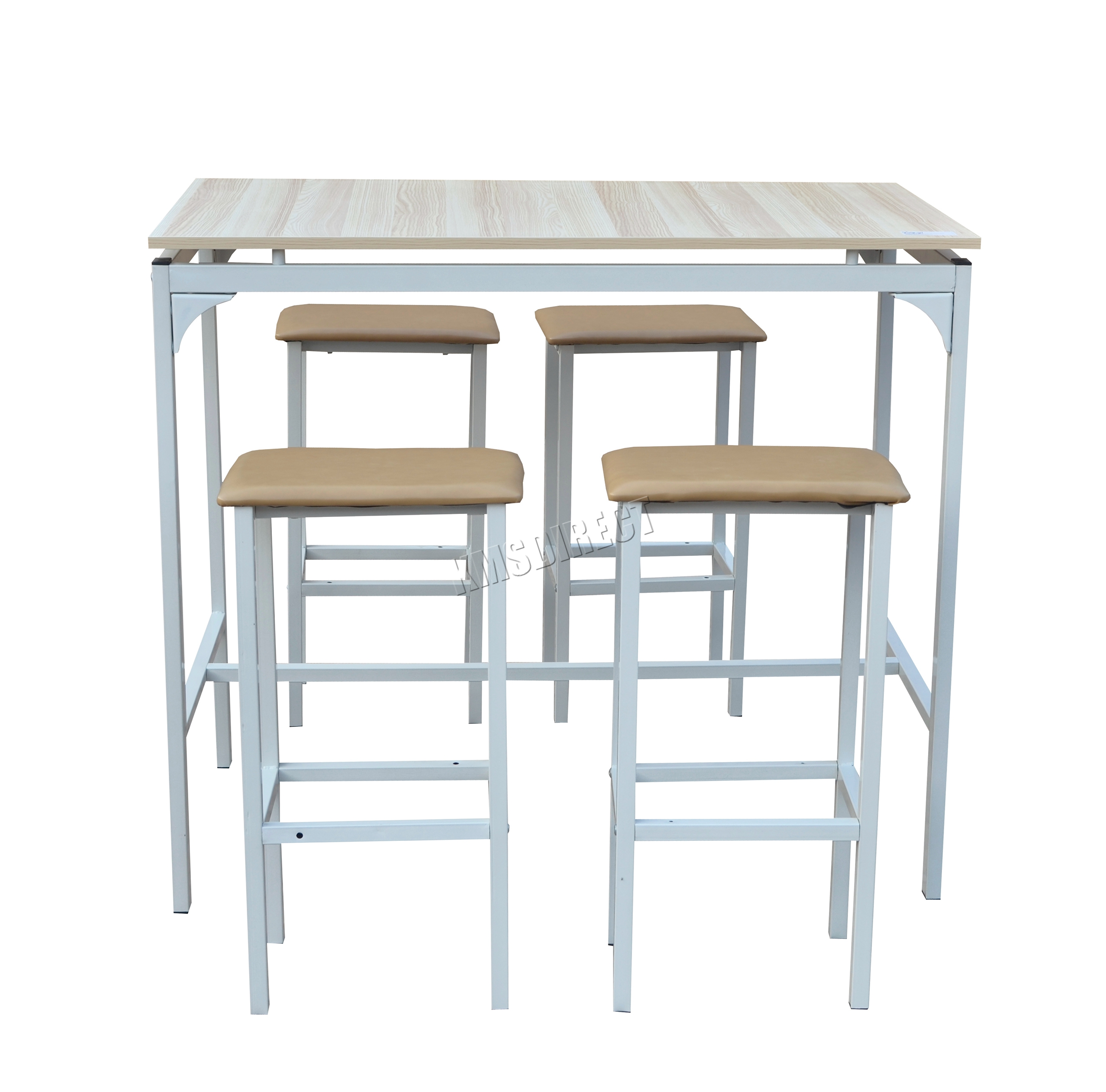 FoxHunter Pub Bar Breakfast Dining Table With 4 Stools Room Set