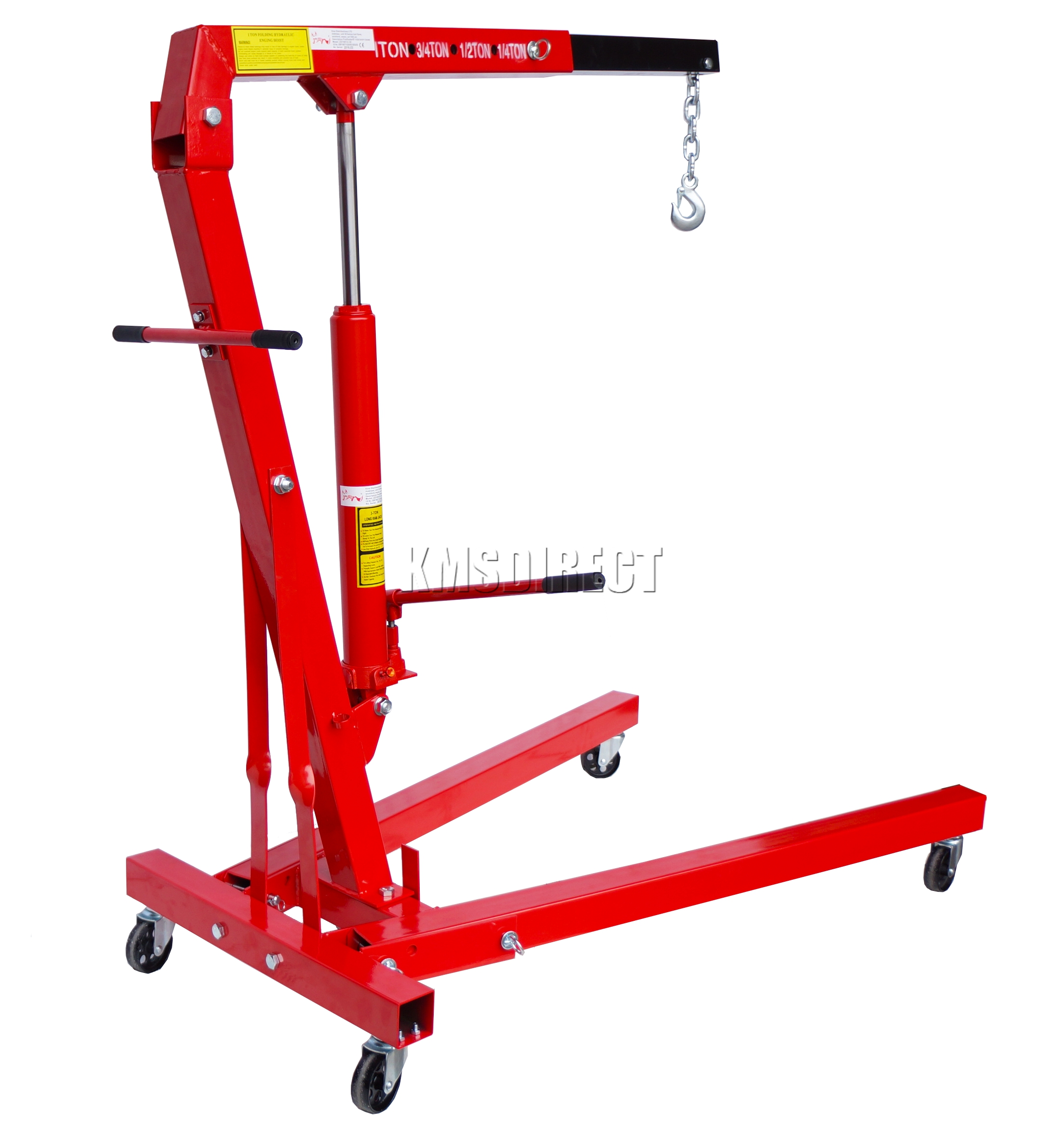 Folding Jack Stands >> FoxHunter Red 1 Ton Tonne Hydraulic Folding Engine Crane Stand Hoist lift Jack