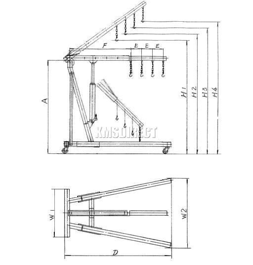 FoxHunter Red 1 Ton Tonne Hydraulic Folding Engine Crane Stand Hoist lift Jack