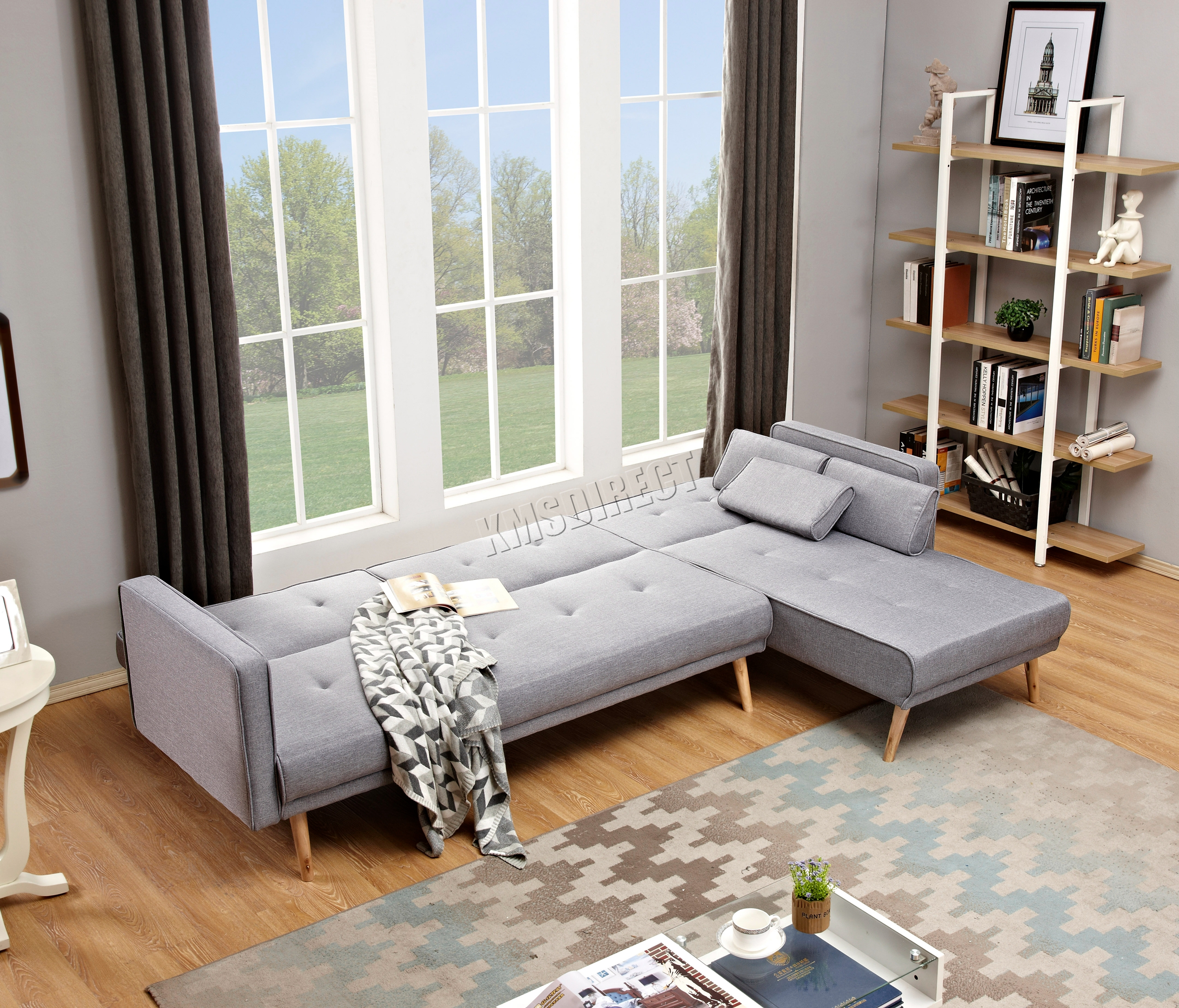 WestWood Luxury L-Shape Fabric Sofa Bed Corner Couch 3/4 Seater ...