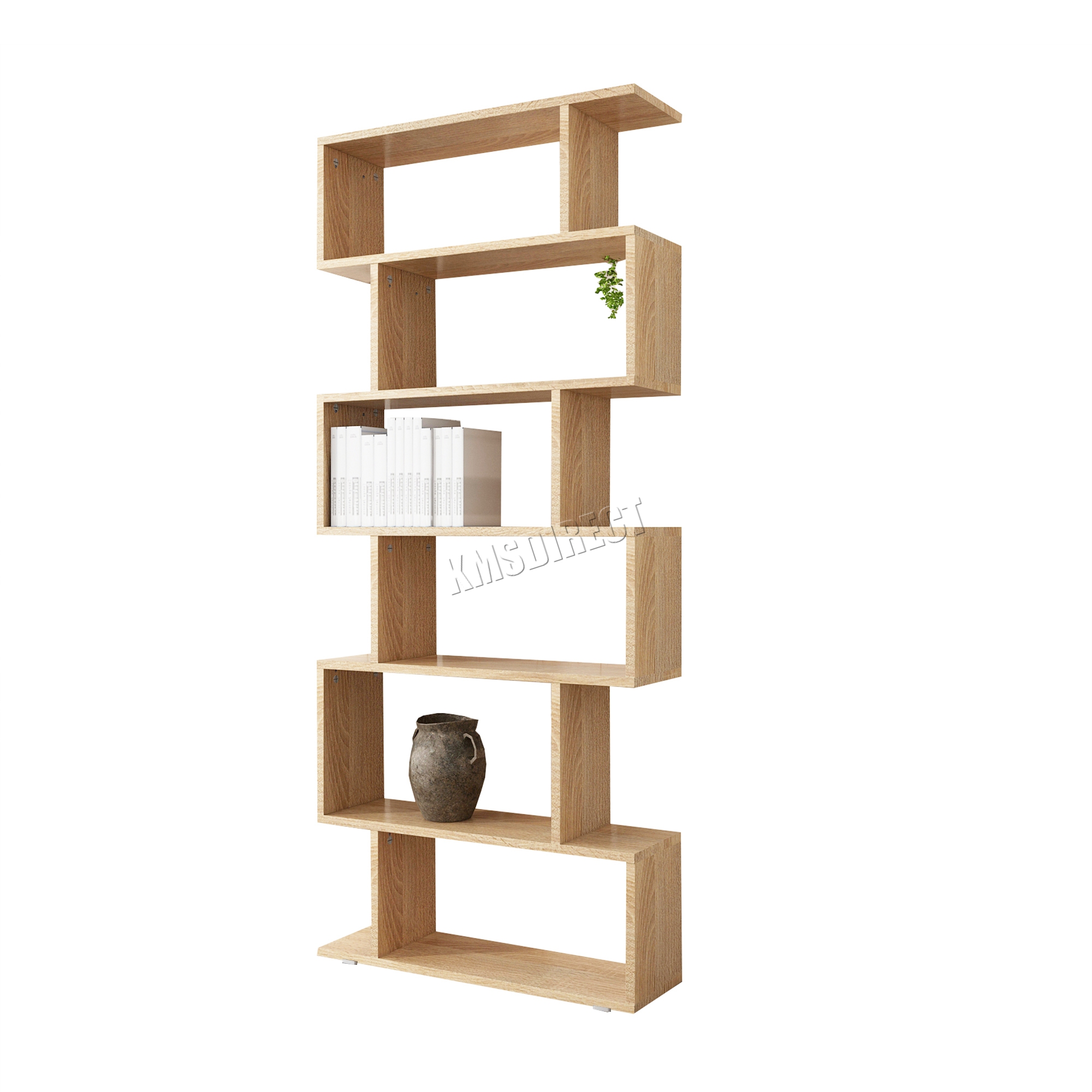 Sentinel Westwood Pb 6 Tier S Shape Bookshelf Bookcase Display