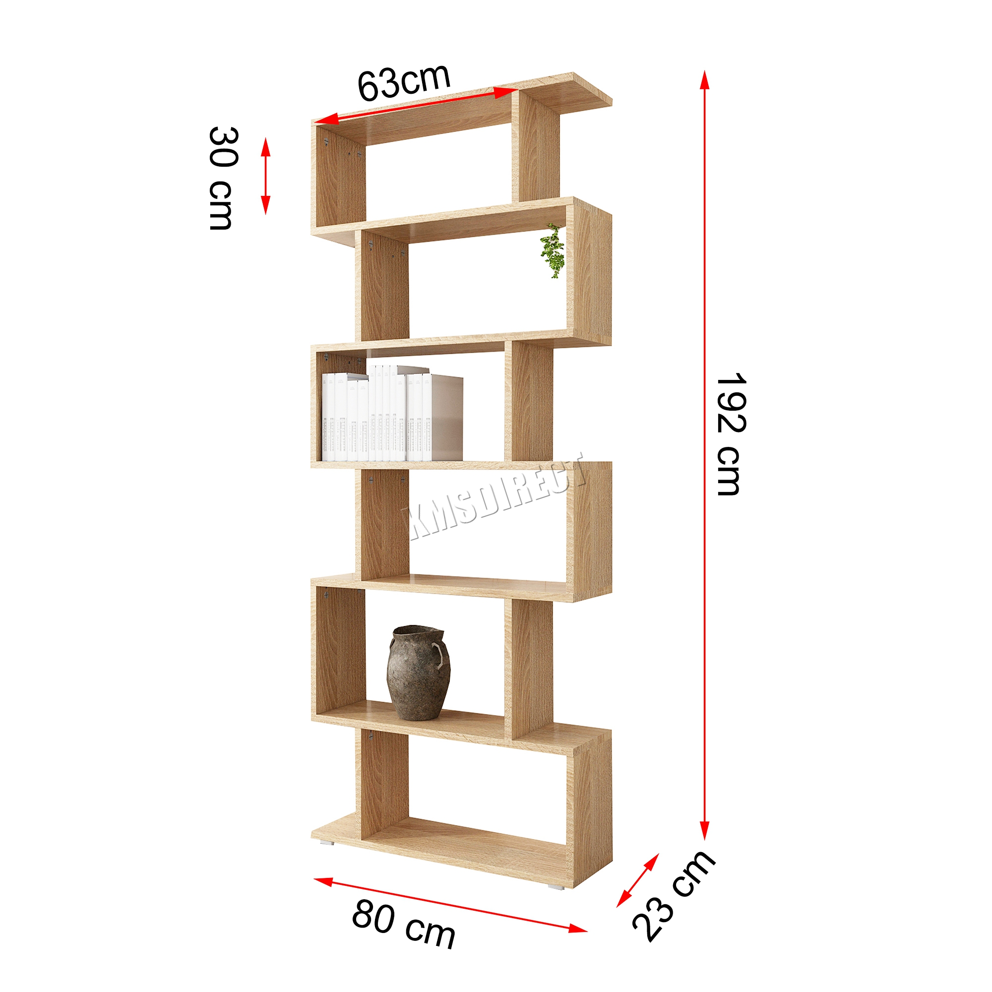 Westwood Pb 6 Tier S Shape Bookshelf Bookcase