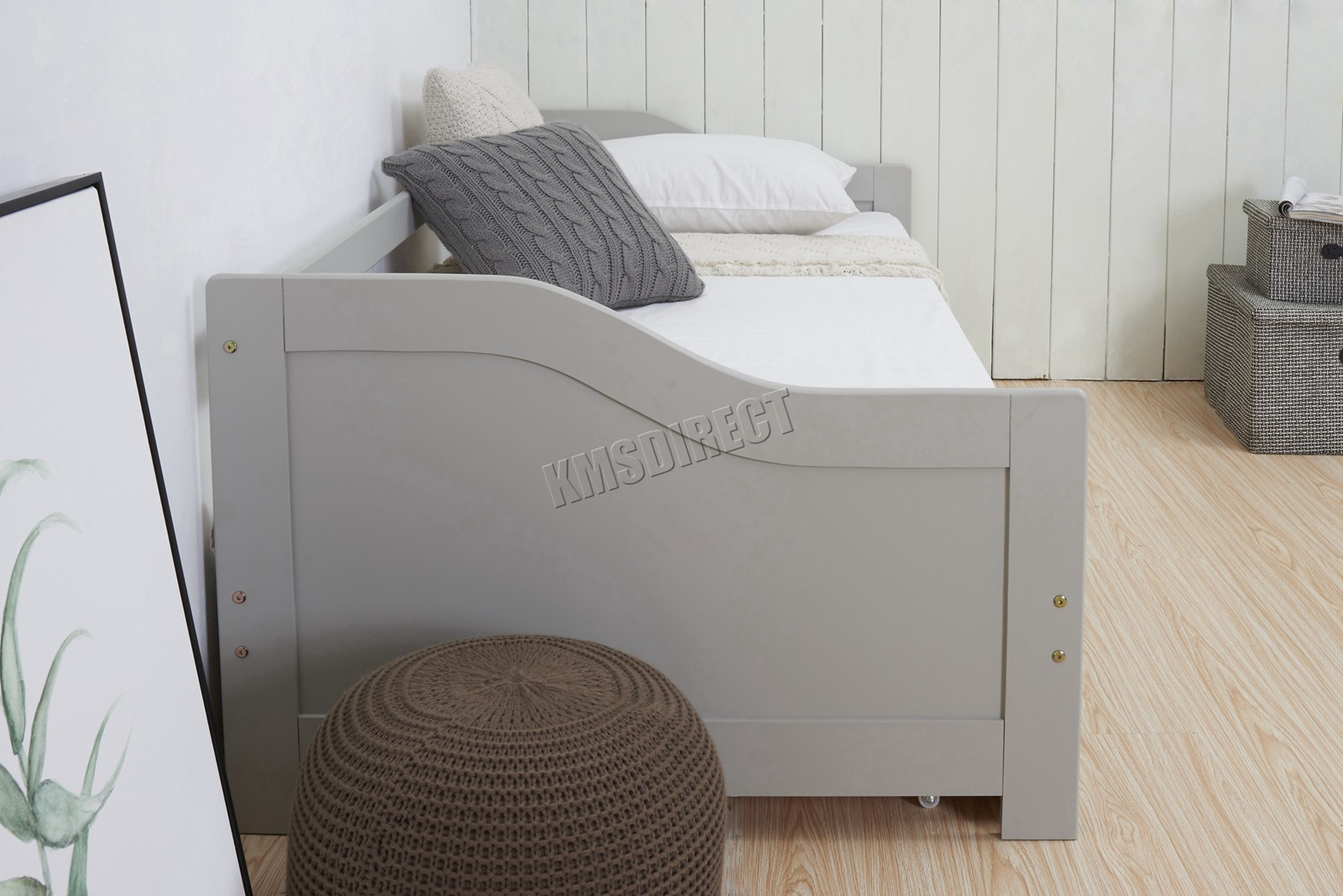Westwood Grey Single 3ft Day Bed With Trundle Guest Solid