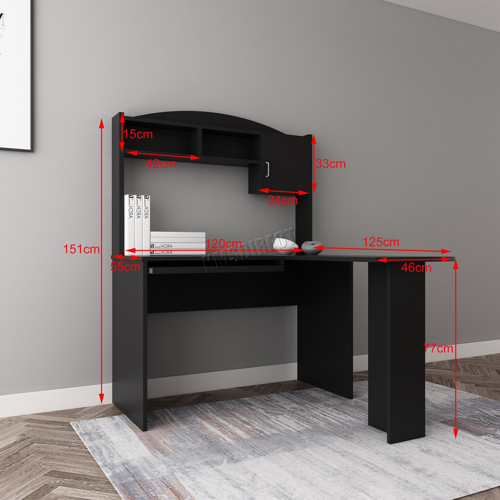 WestWood L-shaped Computer PC Desk Table With Shelves ...
