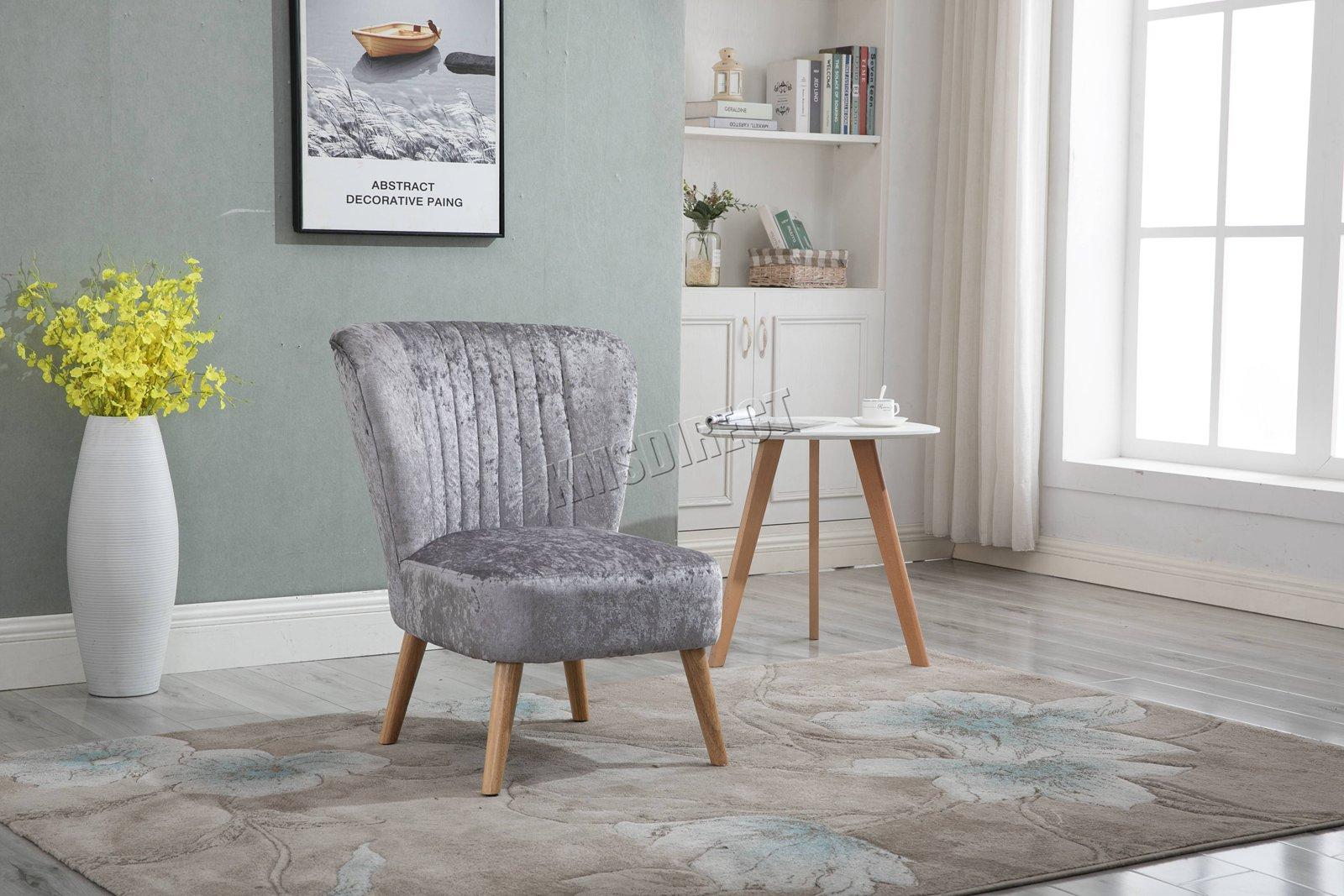 Westwood Crush Velvet Fabric Accent Tub Chair Sofa Seat