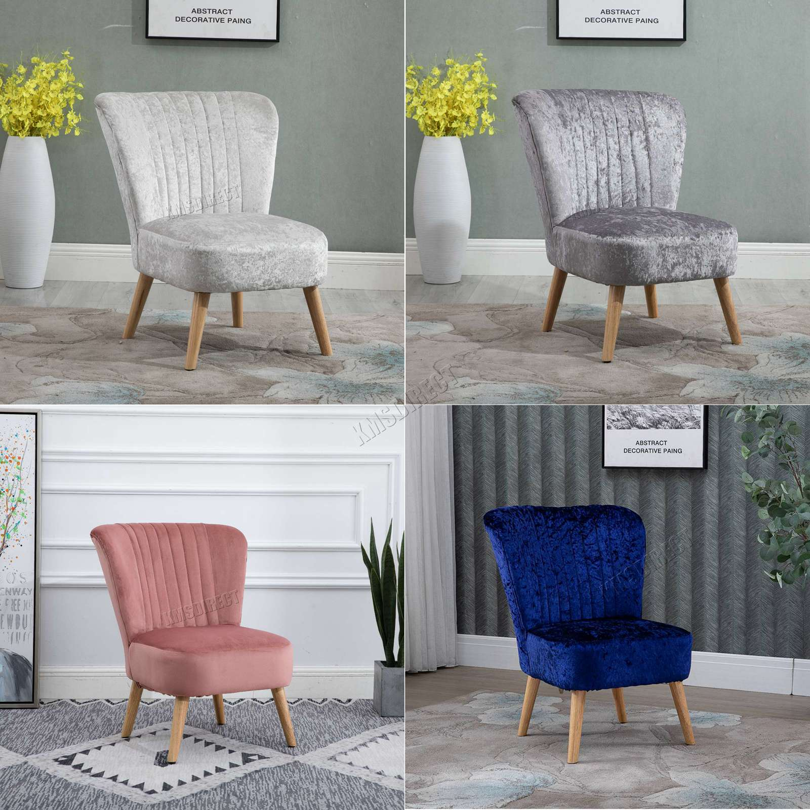 Details about WestWood Crush Velvet Fabric Accent Oyster Tub Chair Seat  Lounge Bedroom 1300