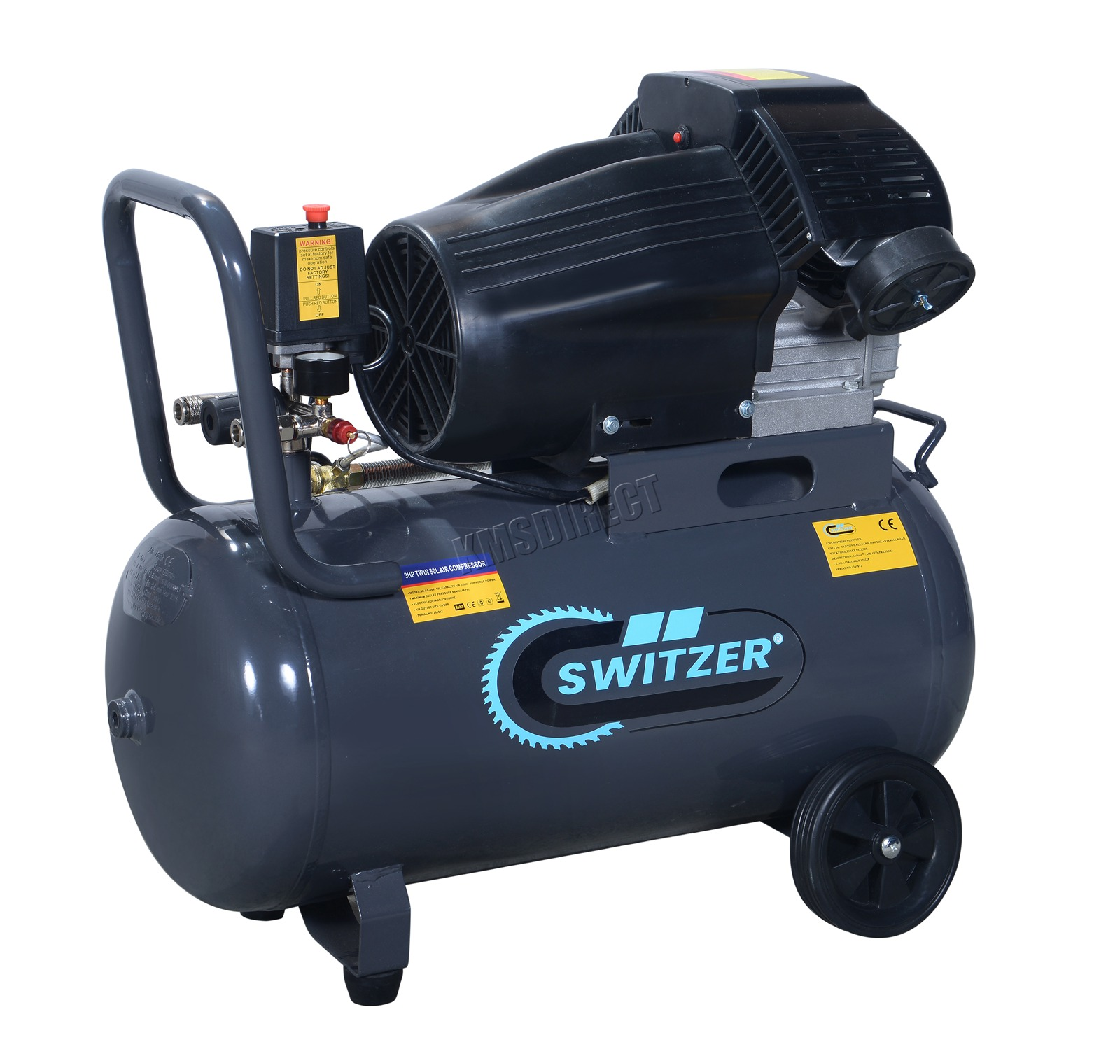 Mobile Air Compressor >> Details About Switzer Mobile Air Compressor 50 Litre 3hp 13cfm 230v Twin Cylinder Ac006