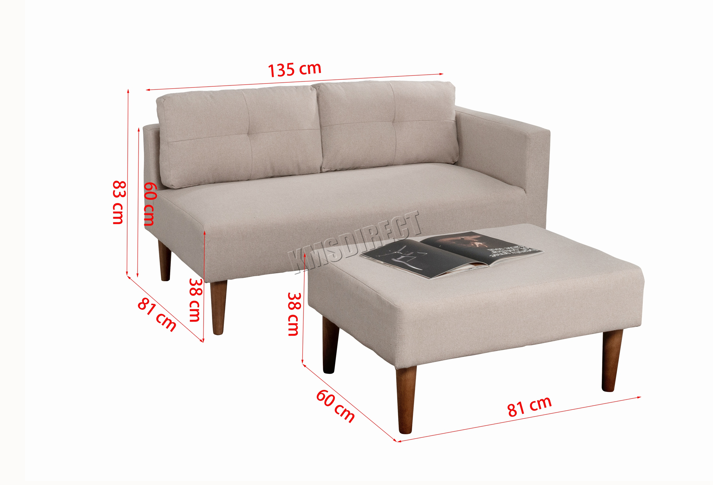 Westwood Fabric Sofa With Stool Footrest 2 3
