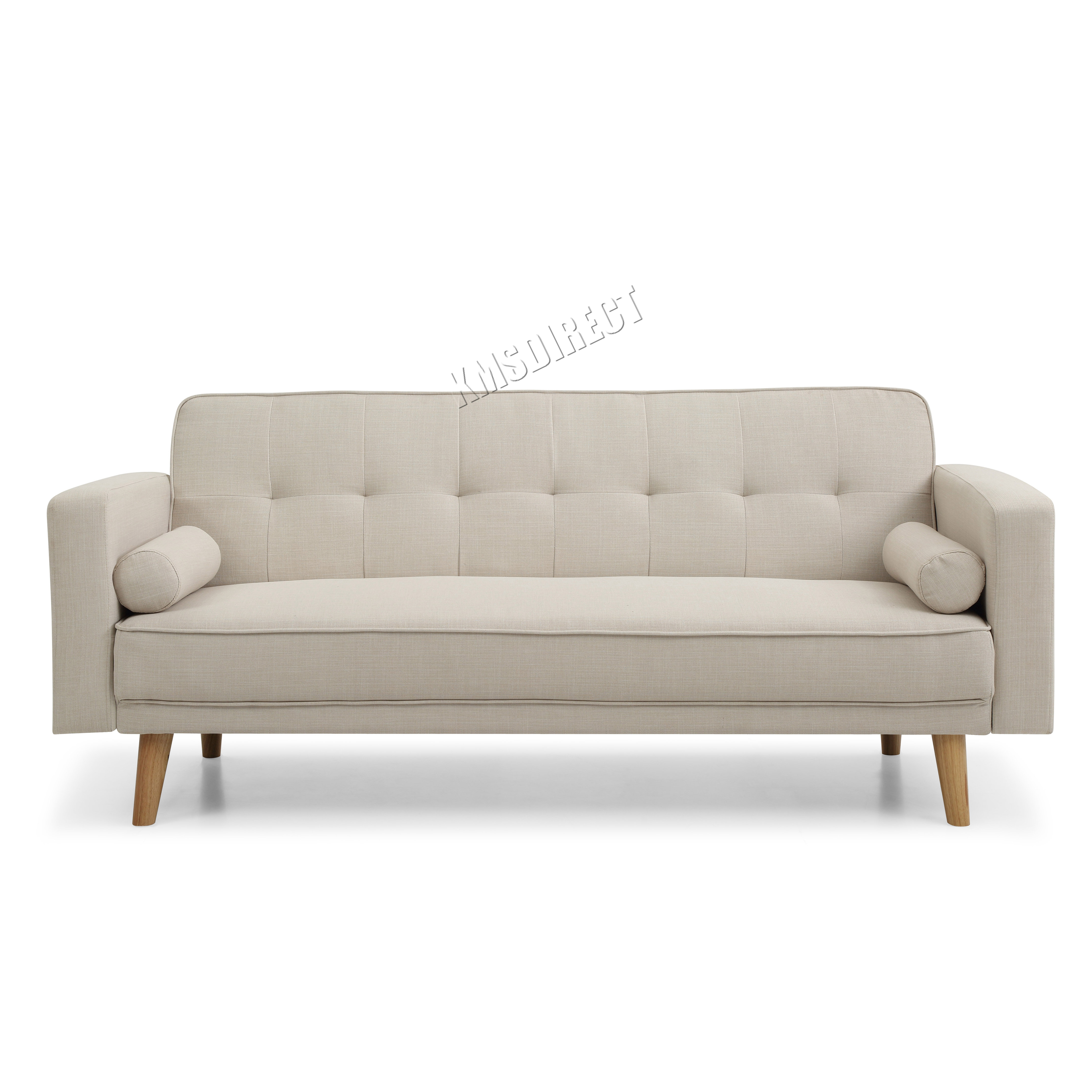 Sentinel Damaged Westwood Fabric Sofa Bed 3 Seater Couch Furniture Beige Fsb04