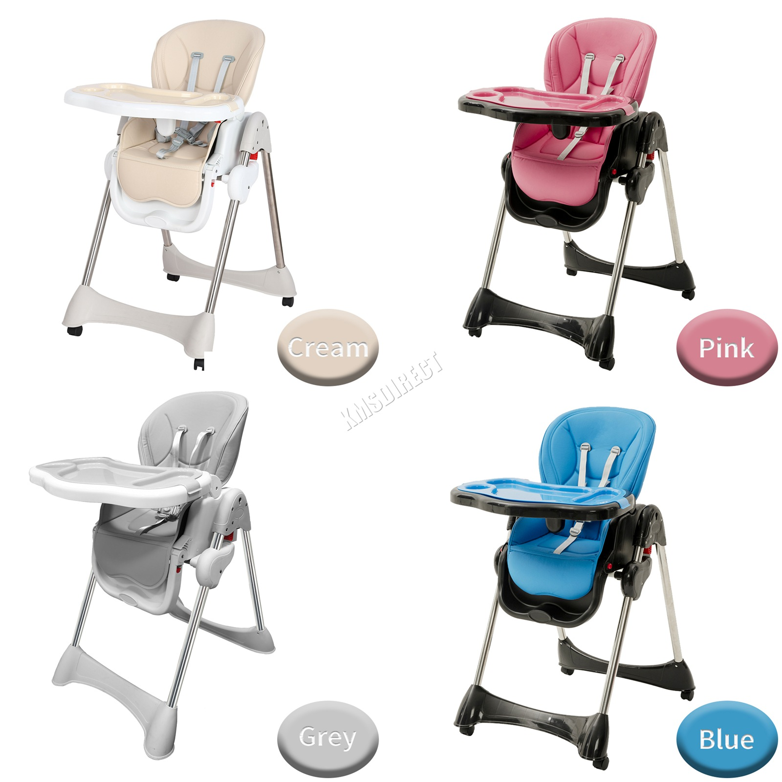 Details about GALACTICA Portable Baby High Chair Infant Soft Leather Feeding Nursery BHC04