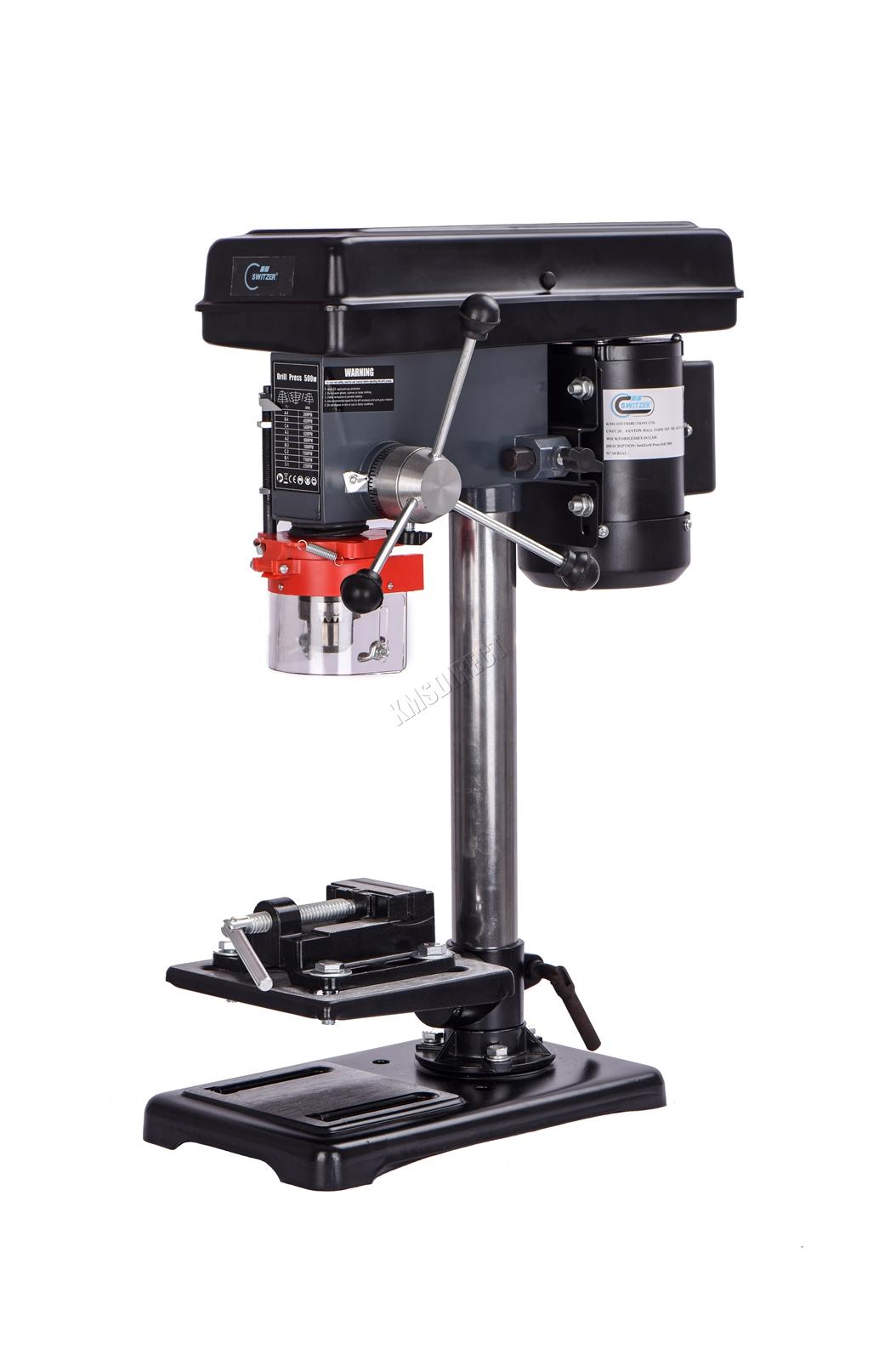 Switzer pilier Presse Perceuse Bench Top Table Stand 500 W 16 mm Banc de Travail Vitesse 9