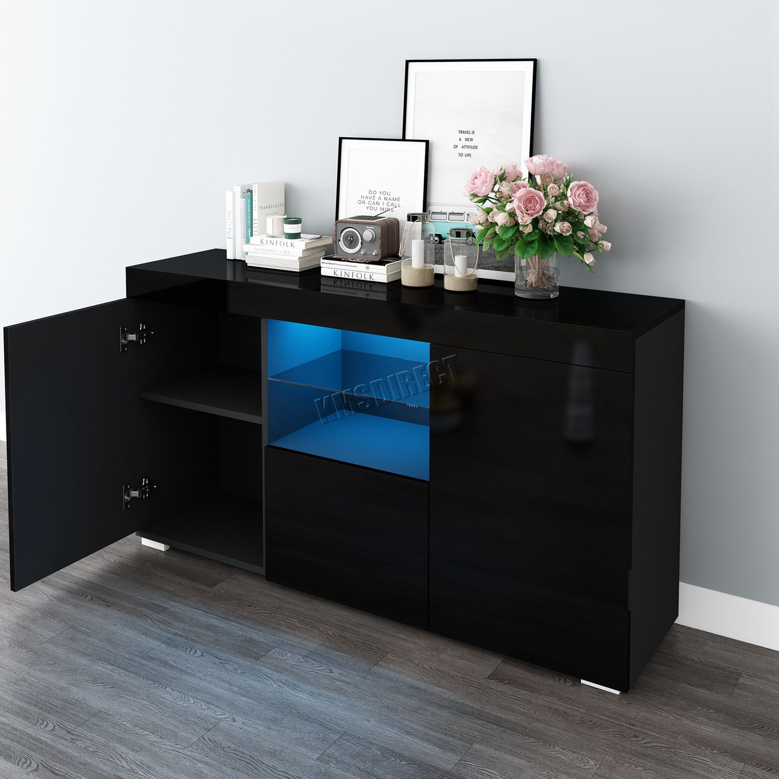 WestWood-PB-High-Gloss-Cabinet-LED-Bookshelf-Sideboard-Cupboard-Home-Unit-PHC03 thumbnail 13