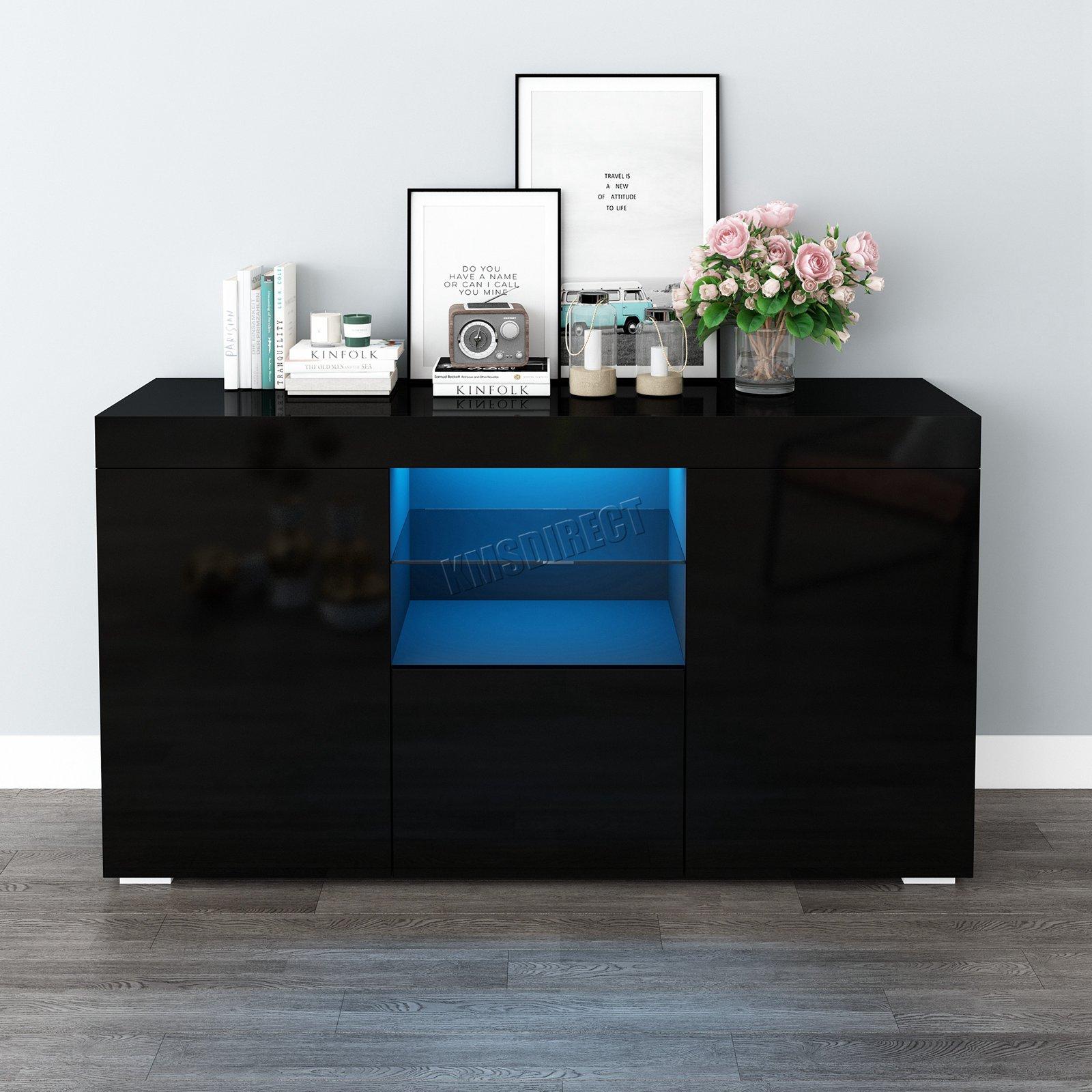 WestWood-PB-High-Gloss-Cabinet-LED-Bookshelf-Sideboard-Cupboard-Home-Unit-PHC03 thumbnail 14