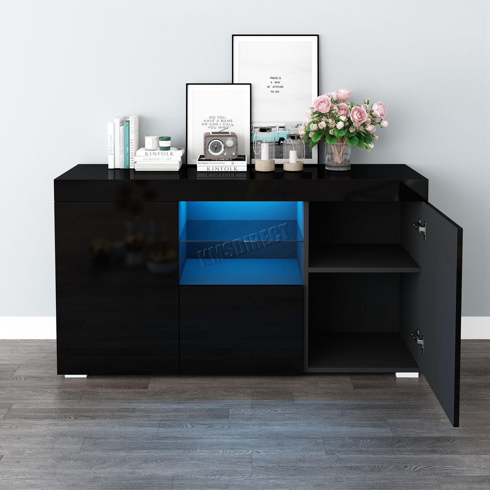 WestWood-PB-High-Gloss-Cabinet-LED-Bookshelf-Sideboard-Cupboard-Home-Unit-PHC03 thumbnail 15