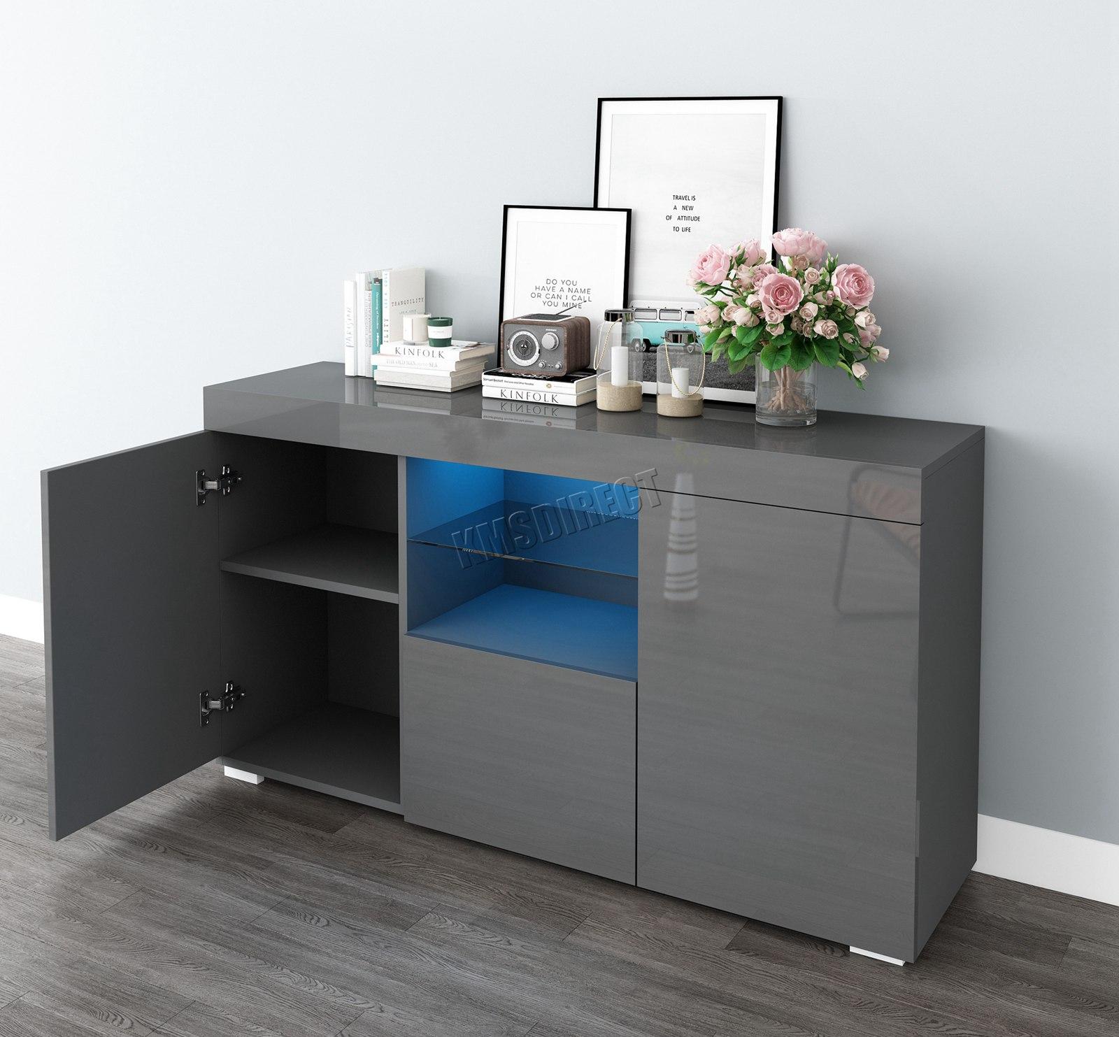 WestWood-PB-High-Gloss-Cabinet-LED-Bookshelf-Sideboard-Cupboard-Home-Unit-PHC03 thumbnail 21