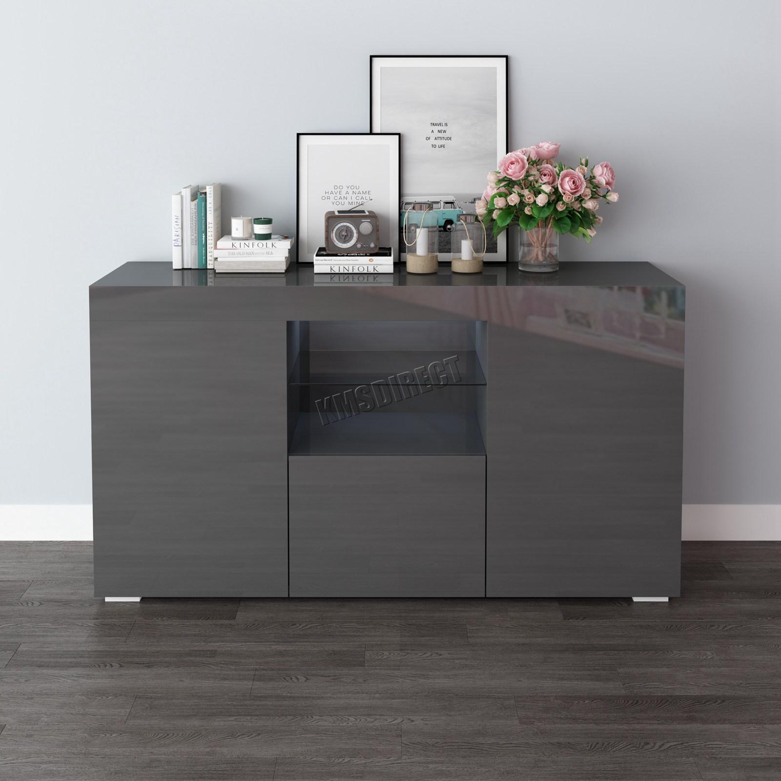WestWood-PB-High-Gloss-Cabinet-LED-Bookshelf-Sideboard-Cupboard-Home-Unit-PHC03 thumbnail 22