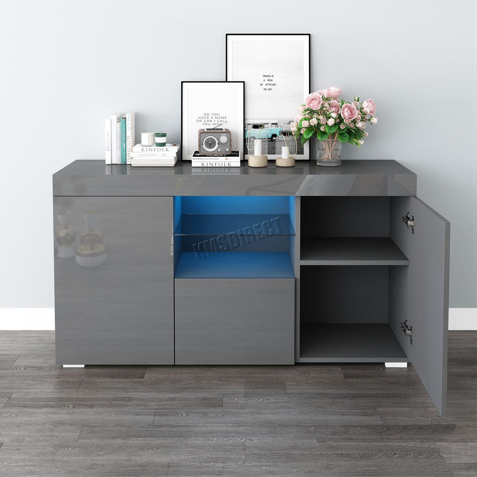 WestWood-PB-High-Gloss-Cabinet-LED-Bookshelf-Sideboard-Cupboard-Home-Unit-PHC03 thumbnail 23