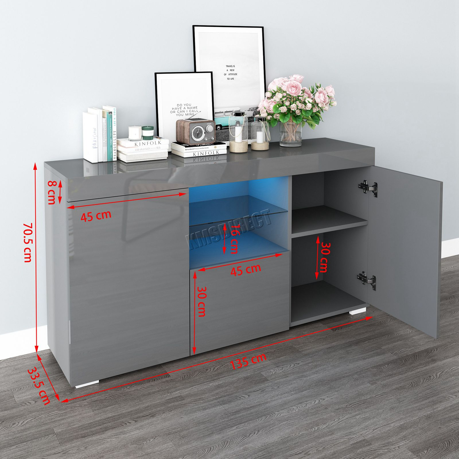 WestWood-PB-High-Gloss-Cabinet-LED-Bookshelf-Sideboard-Cupboard-Home-Unit-PHC03 thumbnail 25