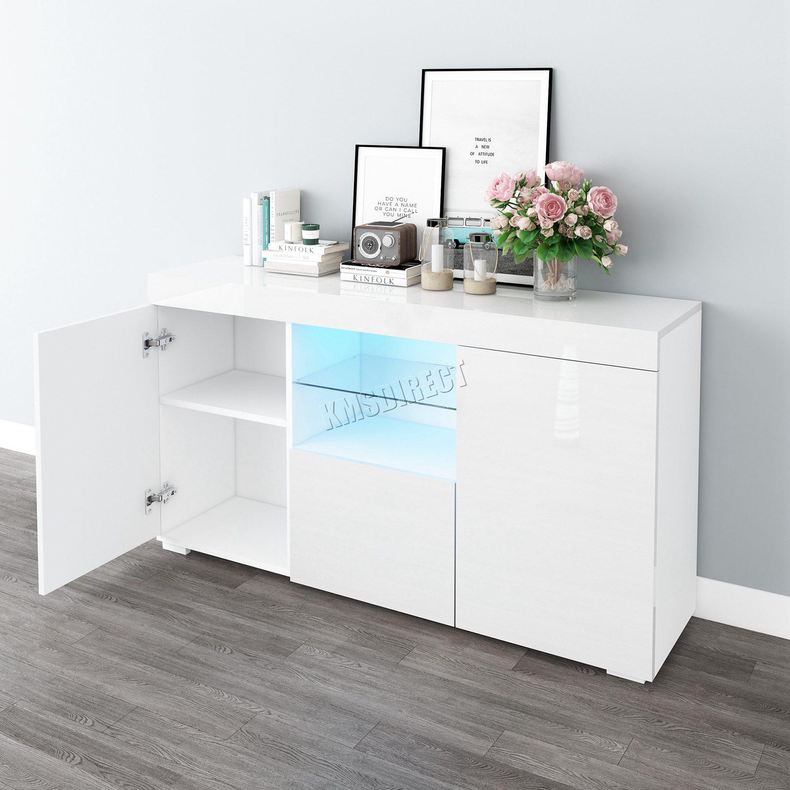 WestWood-PB-High-Gloss-Cabinet-LED-Bookshelf-Sideboard-Cupboard-Home-Unit-PHC03 thumbnail 27