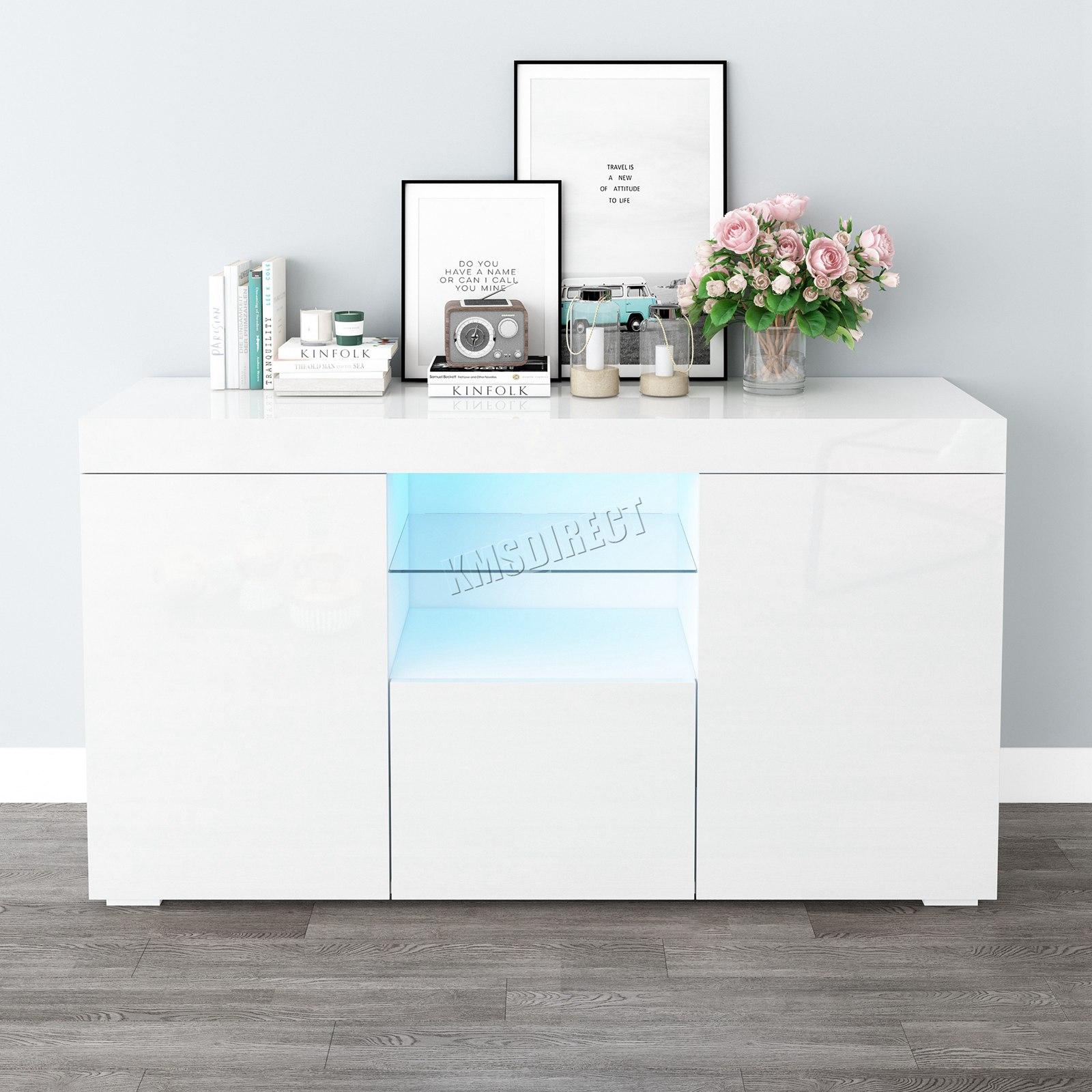 WestWood-PB-High-Gloss-Cabinet-LED-Bookshelf-Sideboard-Cupboard-Home-Unit-PHC03 thumbnail 28