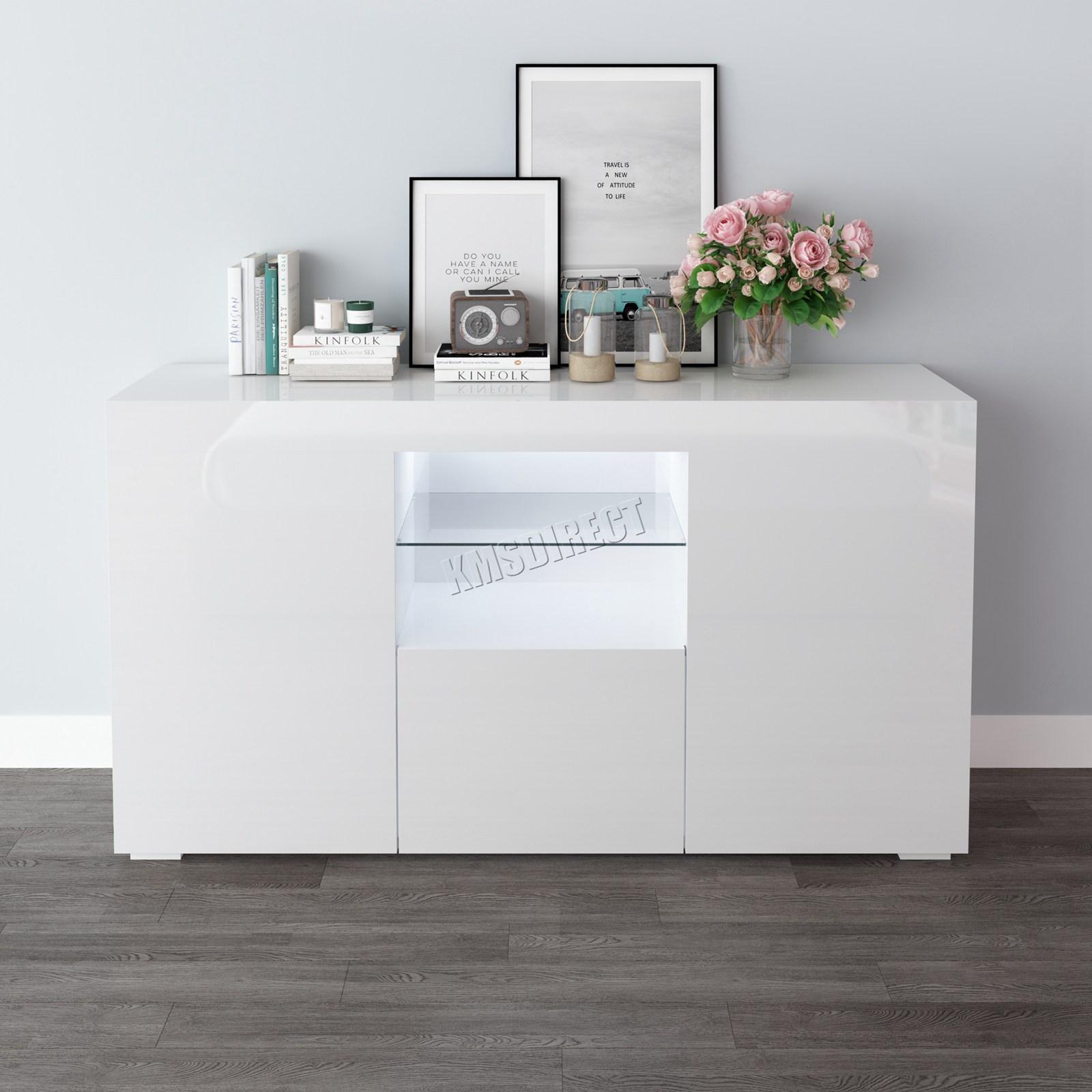WestWood-PB-High-Gloss-Cabinet-LED-Bookshelf-Sideboard-Cupboard-Home-Unit-PHC03 thumbnail 29