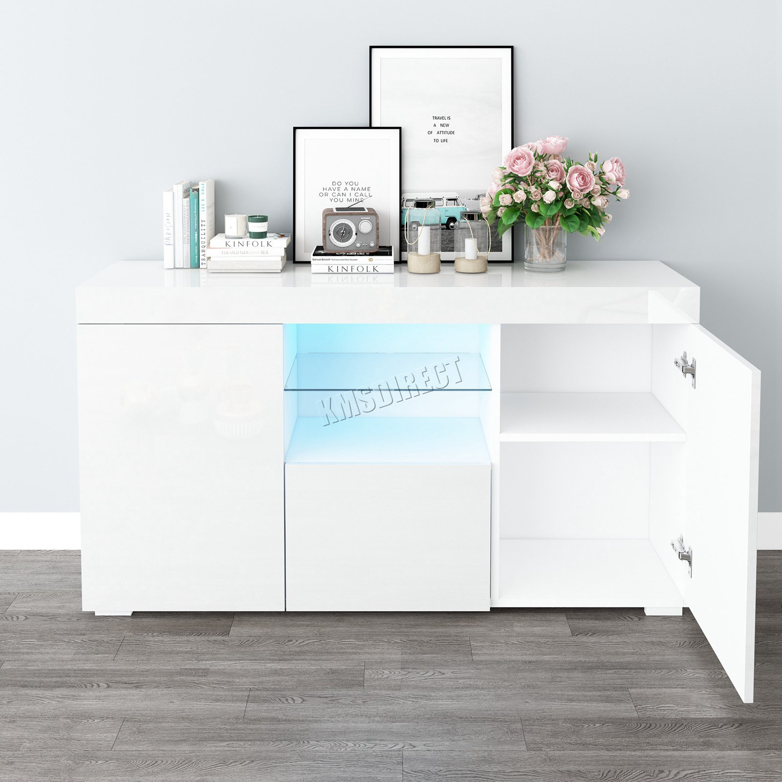 Westwood Pb High Gloss Cabinet Led Bookshelf Sideboard