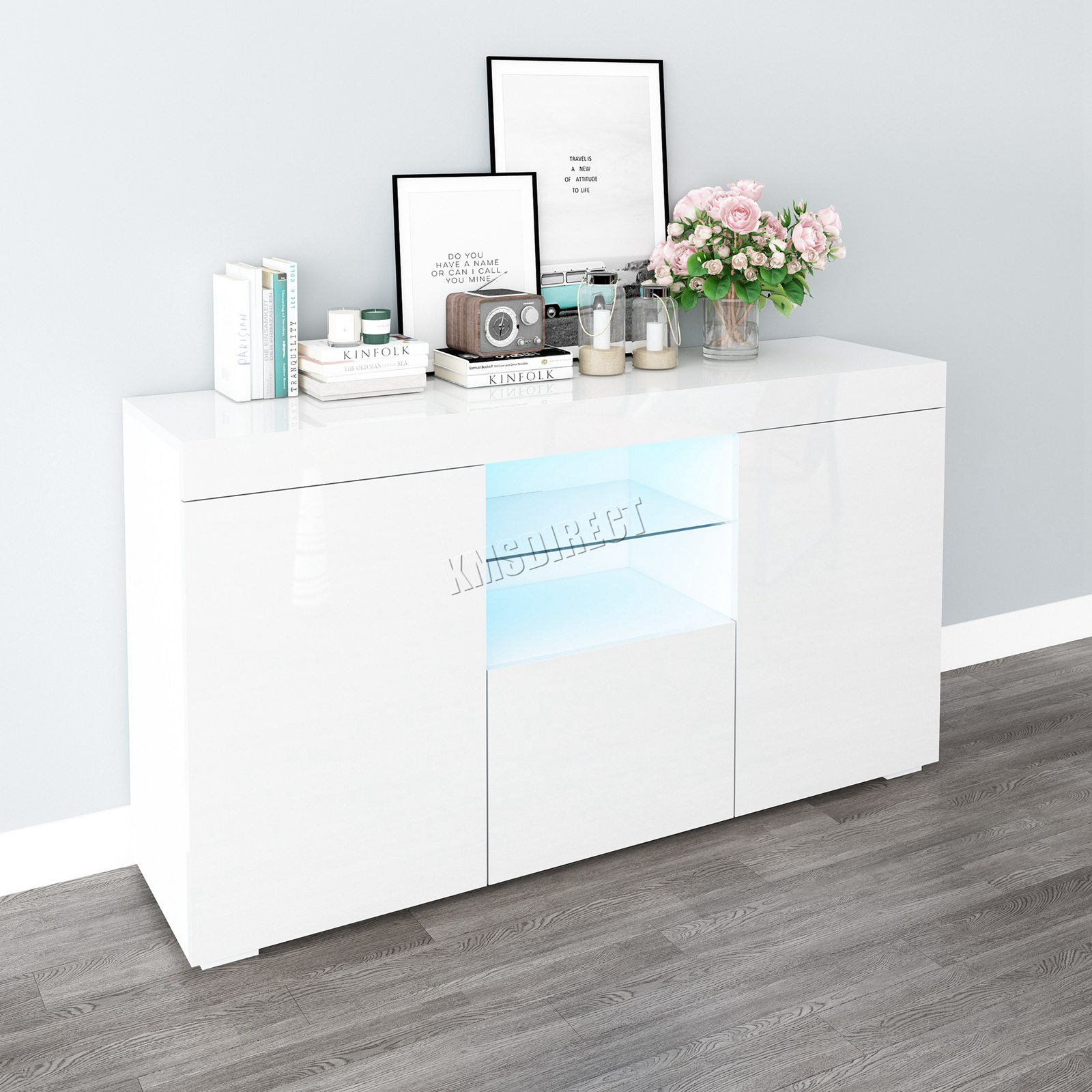 WestWood-PB-High-Gloss-Cabinet-LED-Bookshelf-Sideboard-Cupboard-Home-Unit-PHC03 thumbnail 32