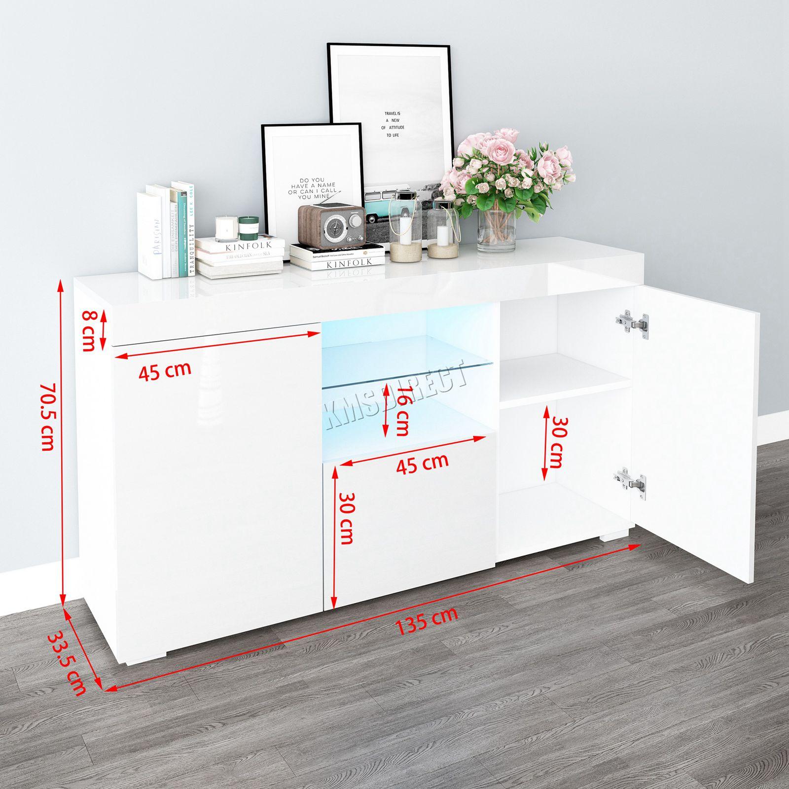 WestWood-PB-High-Gloss-Cabinet-LED-Bookshelf-Sideboard-Cupboard-Home-Unit-PHC03 thumbnail 33