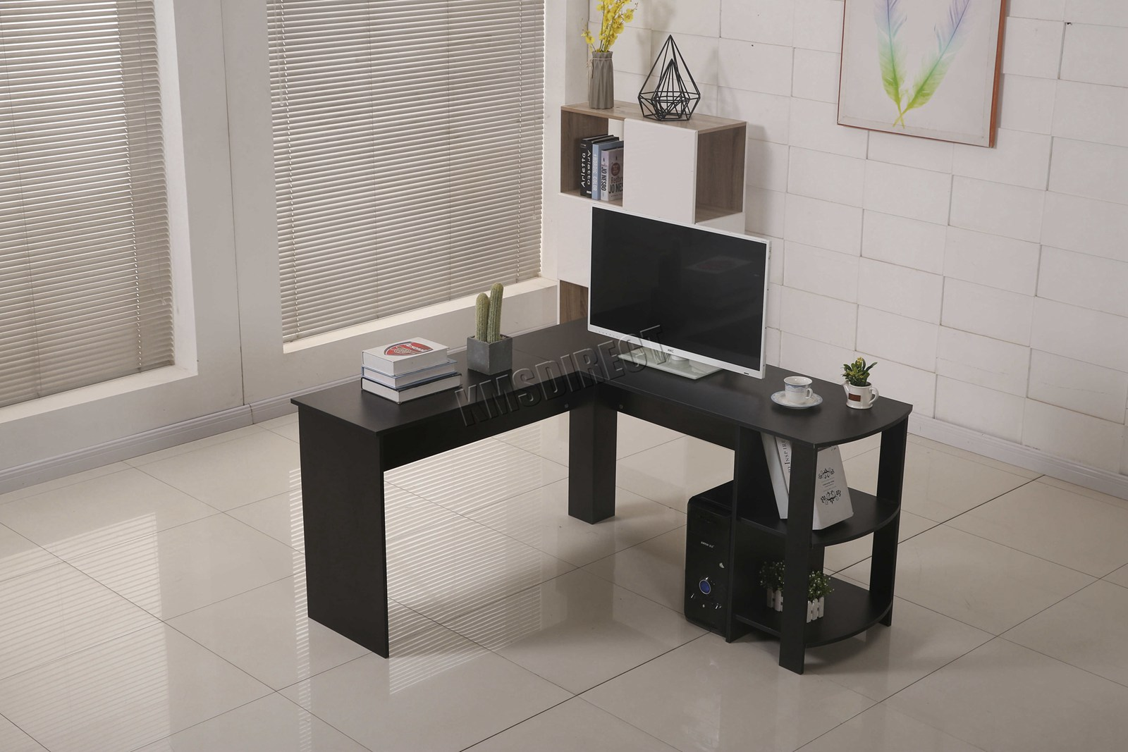 Westwood computer desk study gaming desktop pc table l shaped