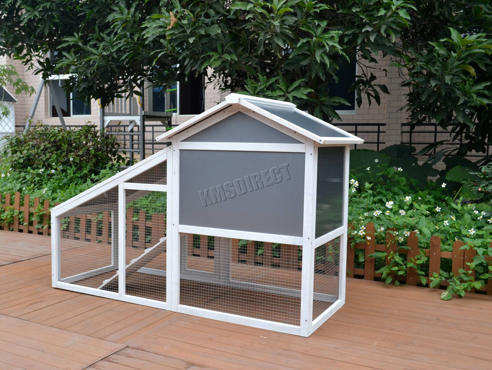 Details about WestWood Wooden Pet Hutch Rabbit Bunny Chicken Coop Shelter  House Run Grey White