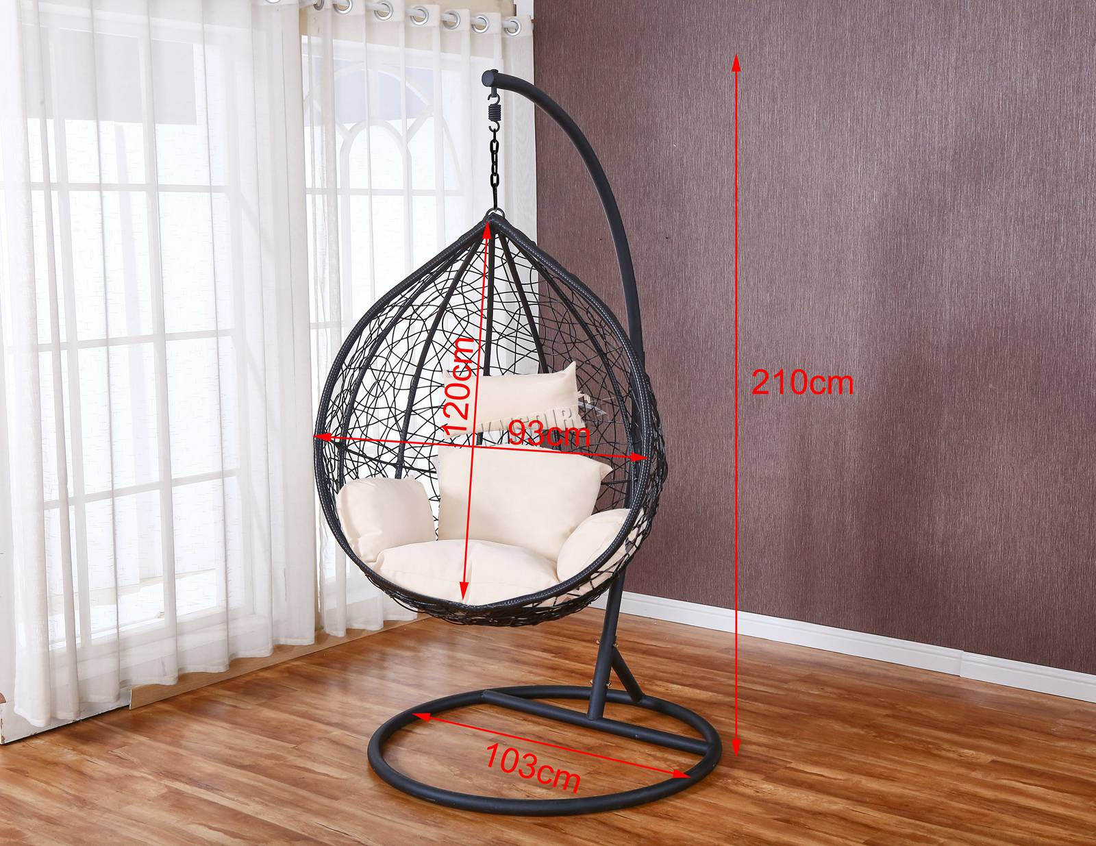 WestWood-Egg-Swing-Hanging-Chair-Hammock-Wave-With-Cushion-Rattan-Wicker-ESWR01 thumbnail 17