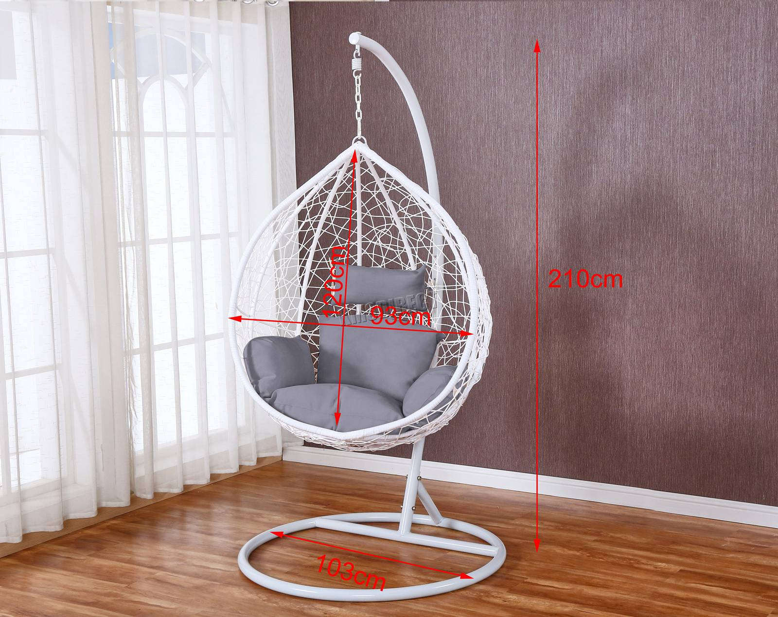 WestWood-Egg-Swing-Hanging-Chair-Hammock-Wave-With-Cushion-Rattan-Wicker-ESWR01 thumbnail 23