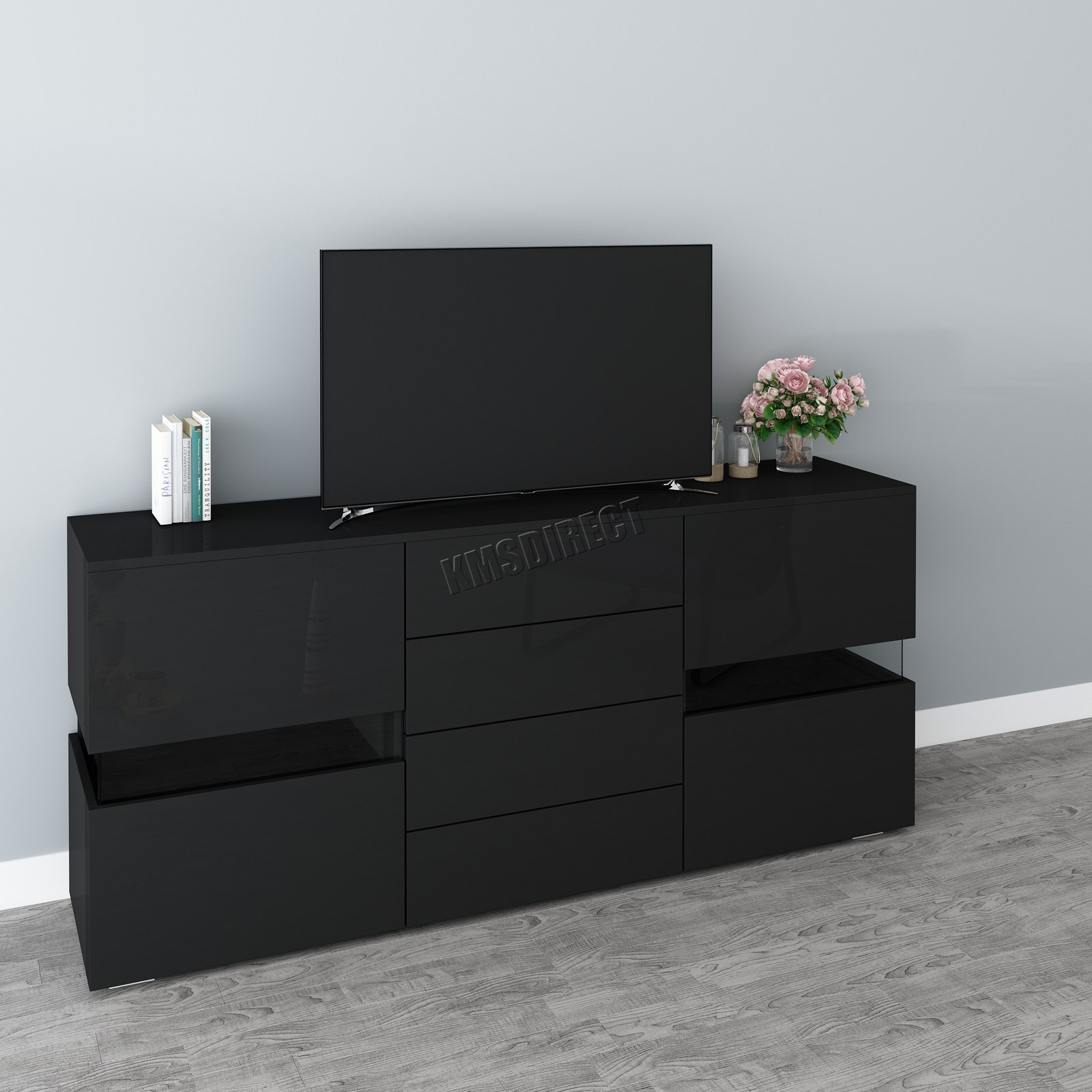 Westwood Tv Cabinet Unit Stand Modern Rgb Led Light High