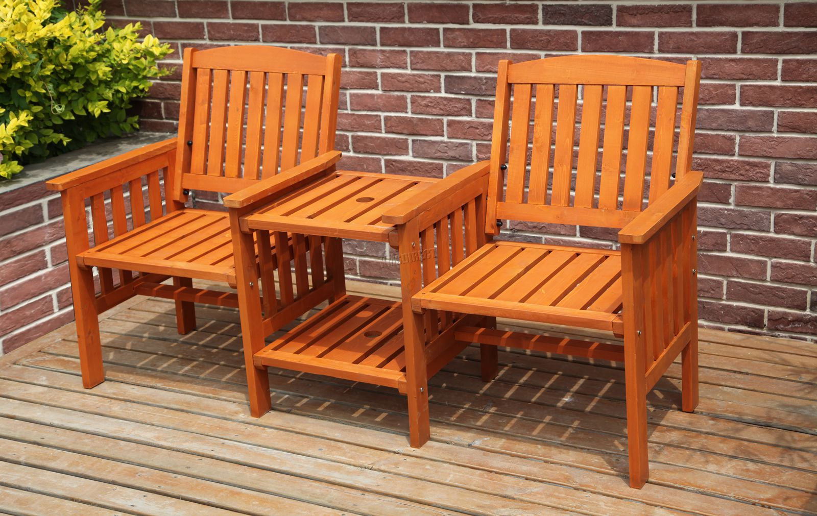 Details about BIRCHTREE Garden Love Seat Wooden Bench 12 Seater Patio Twin  Chair W/ Table LS012