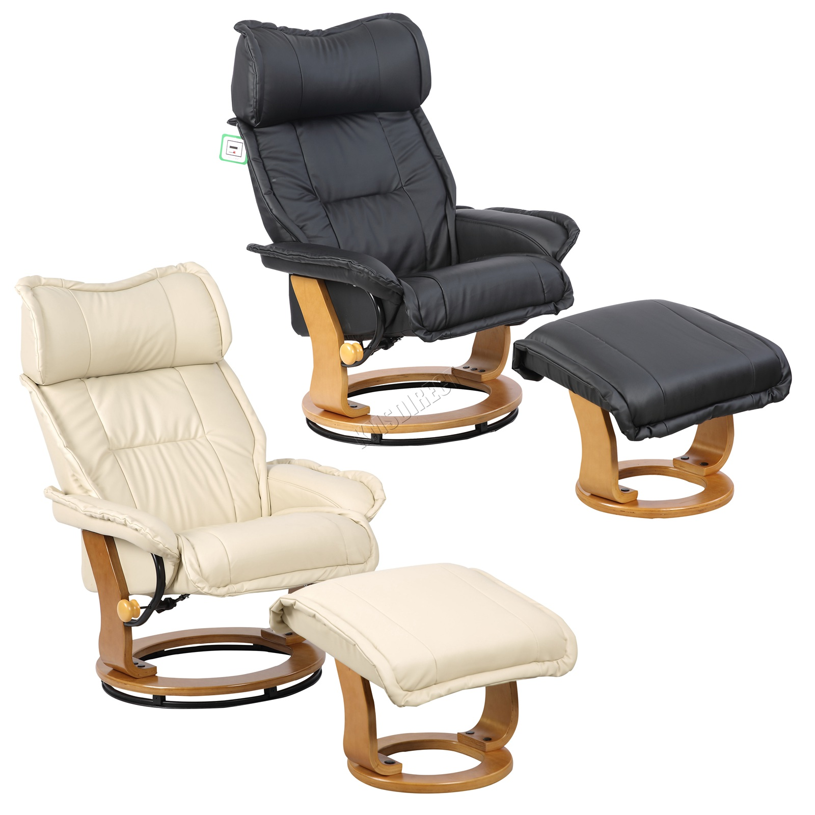 Details About Westwood Swivel Recliner Chair Pu Armchair With Foot Stool Ottoman Home Rcs06