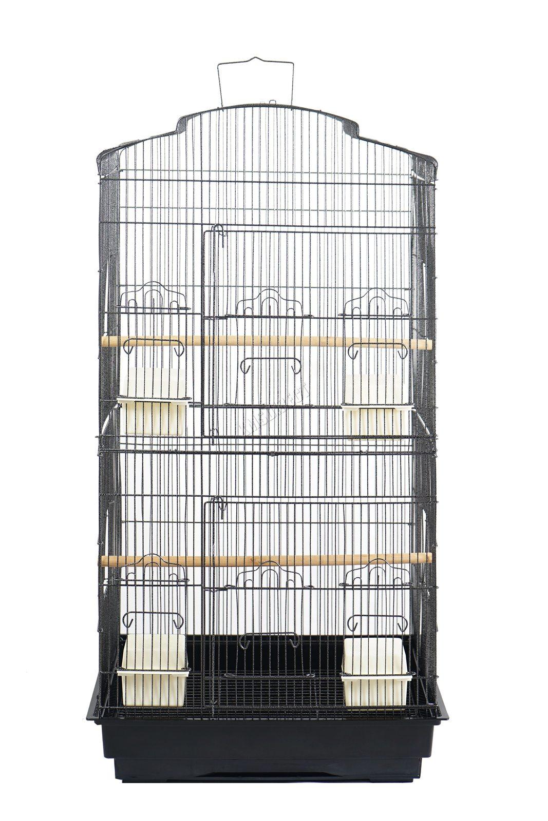 BIRD CAGE METAL MBC 05 HAMMERED SILVER KMSWM02 - Foxhunter Grande Metal Jaula con Soporte Pajarera Loro Periquito Canario Cacatua