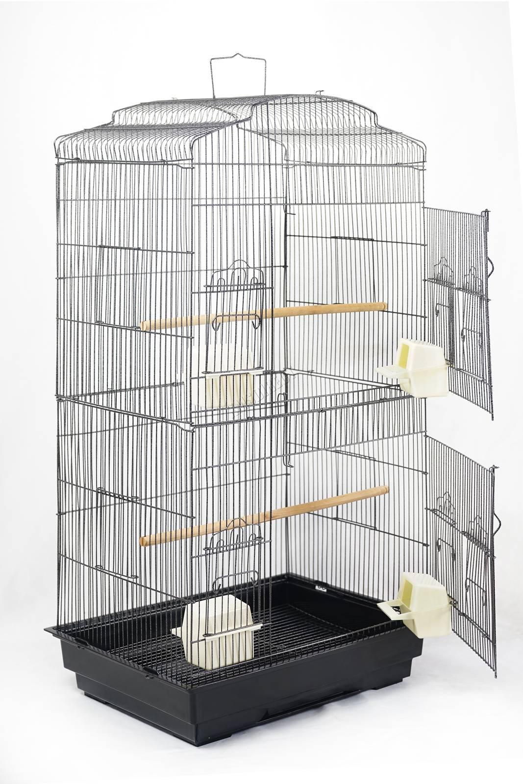 BIRD CAGE METAL MBC 05 HAMMERED SILVER KMSWM04 - Foxhunter Grande Metal Jaula con Soporte Pajarera Loro Periquito Canario Cacatua