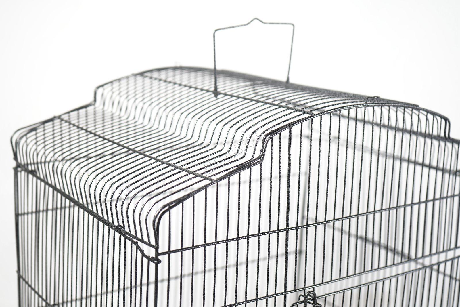 BIRD CAGE METAL MBC 05 HAMMERED SILVER KMSWM07 - Foxhunter Grande Metal Jaula con Soporte Pajarera Loro Periquito Canario Cacatua
