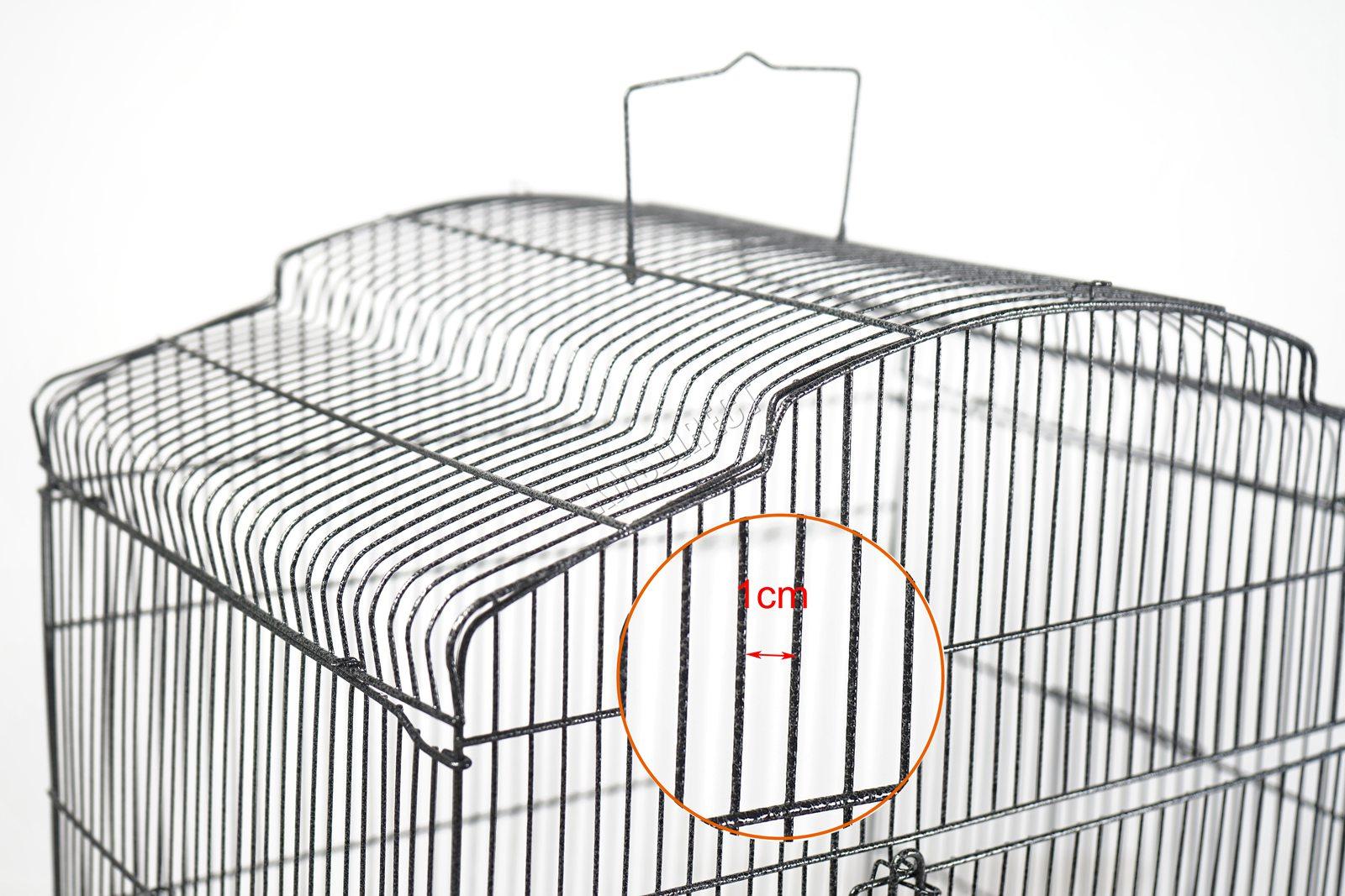 BIRD CAGE METAL MBC 05 HAMMERED SILVER KMSWM08 - Foxhunter Grande Metal Jaula con Soporte Pajarera Loro Periquito Canario Cacatua