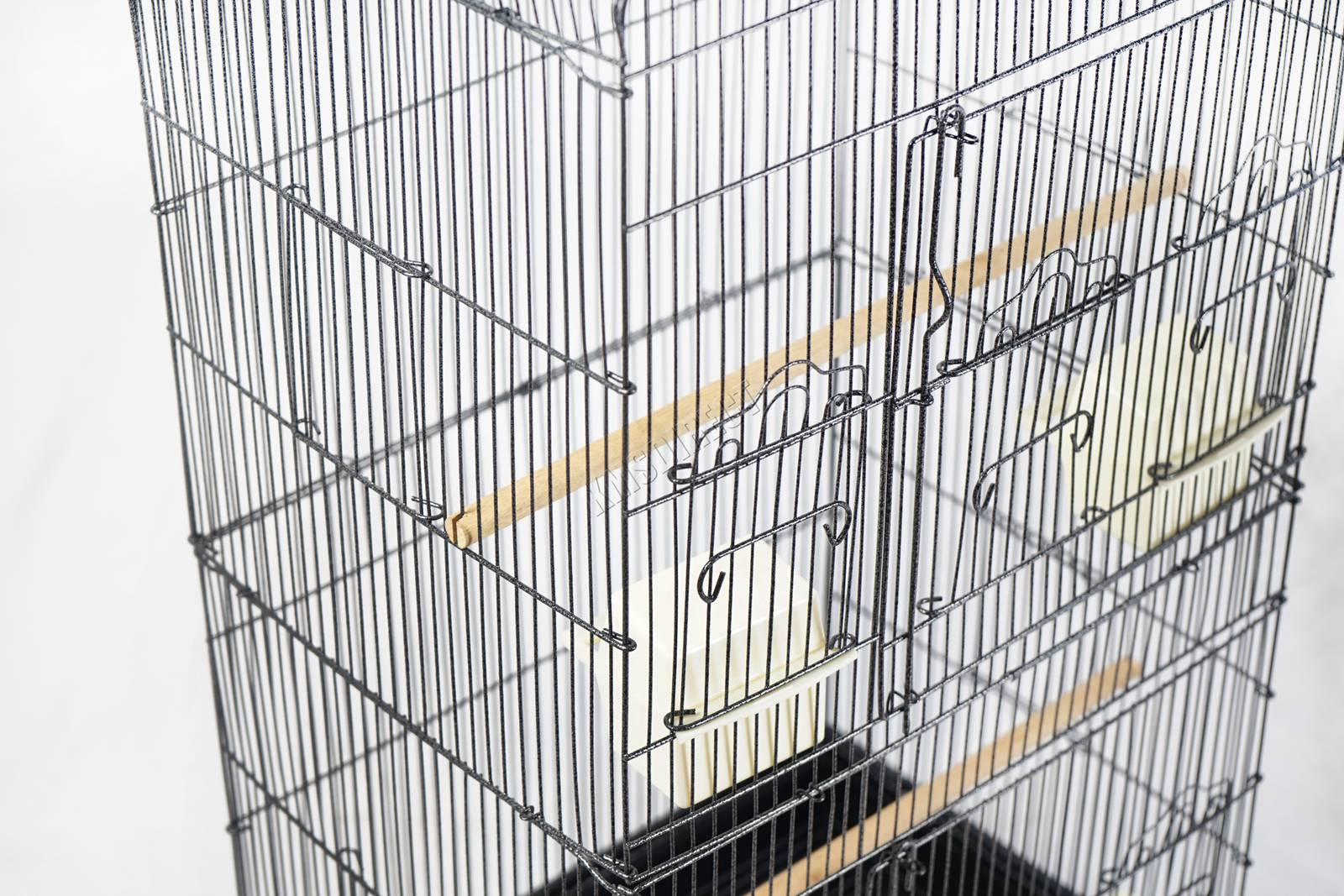 BIRD CAGE METAL MBC 05 HAMMERED SILVER KMSWM09 - Foxhunter Grande Metal Jaula con Soporte Pajarera Loro Periquito Canario Cacatua