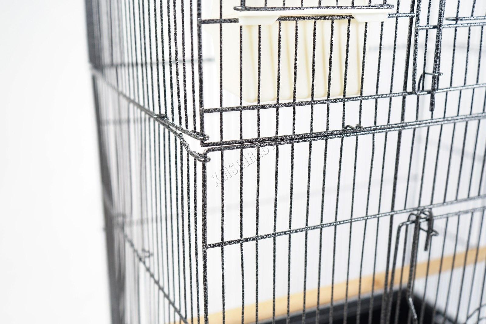 BIRD CAGE METAL MBC 05 HAMMERED SILVER KMSWM10 - Foxhunter Grande Metal Jaula con Soporte Pajarera Loro Periquito Canario Cacatua