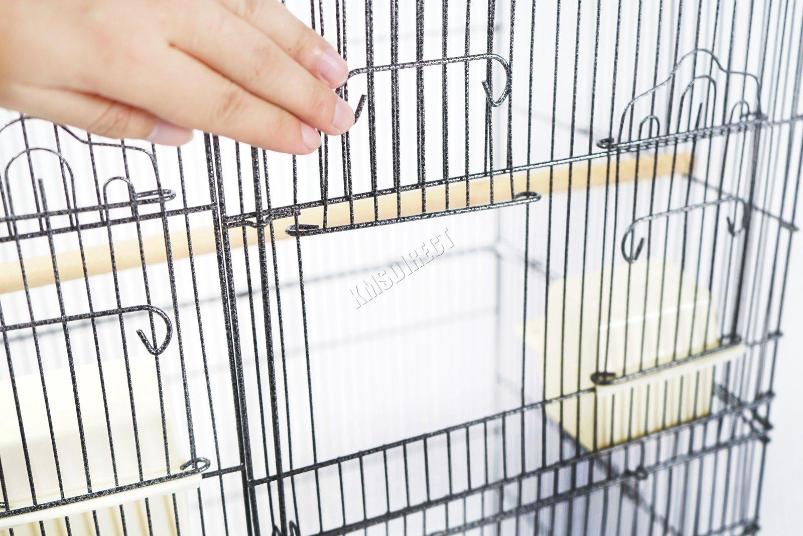 BIRD CAGE METAL MBC 05 HAMMERED SILVER KMSWM11 - Foxhunter Grande Metal Jaula con Soporte Pajarera Loro Periquito Canario Cacatua
