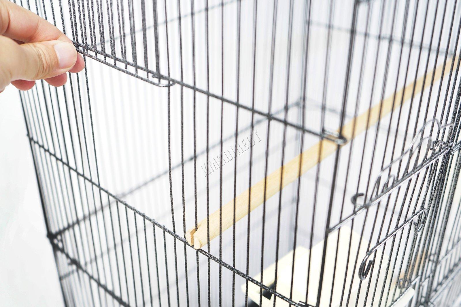 BIRD CAGE METAL MBC 05 HAMMERED SILVER KMSWM12 - Foxhunter Grande Metal Jaula con Soporte Pajarera Loro Periquito Canario Cacatua