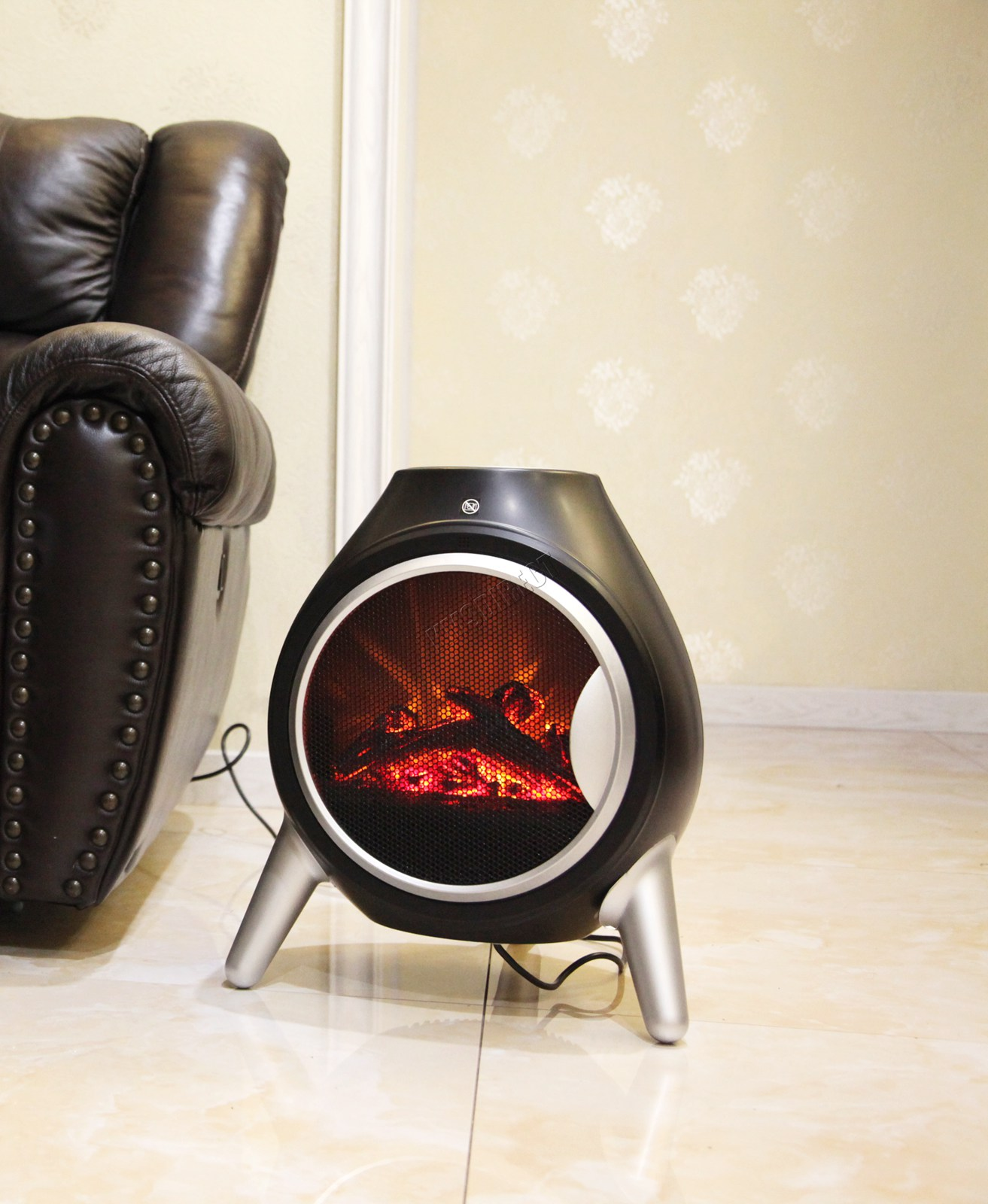 FoxHunter Electric Log Fire Heater Oval