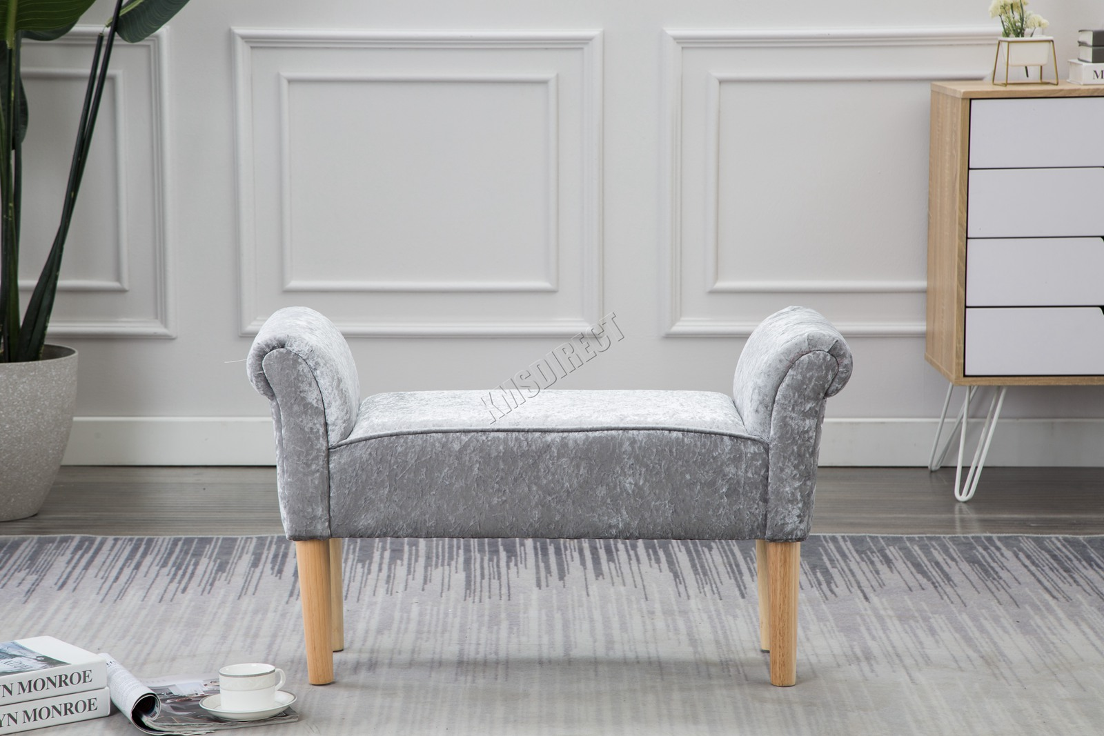 Westwood-Stoff-Bench-Fusshocker-Sitz-Pouf-Wuerfelfoermig-Polsterhocker-Schlafzimmer Indexbild 34