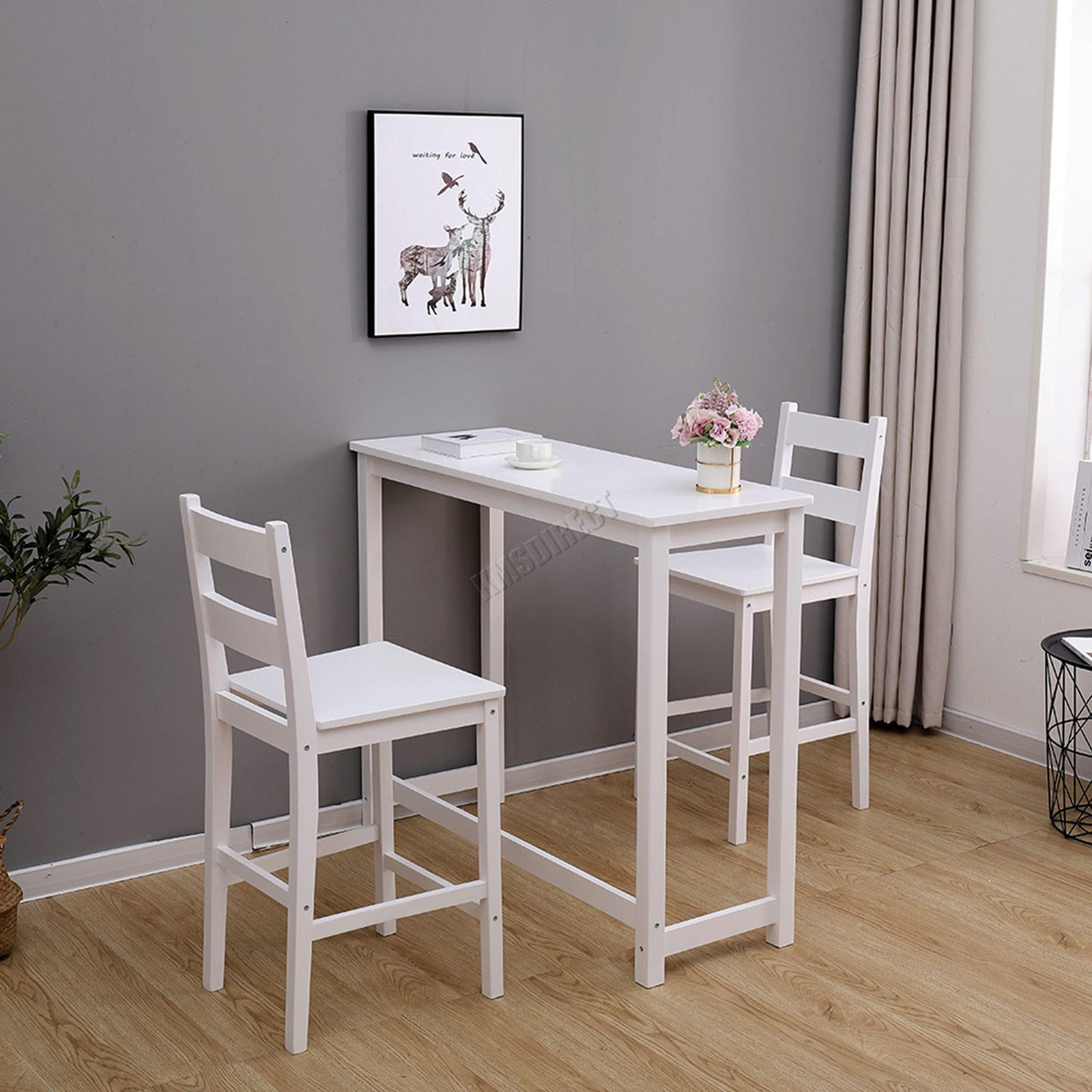 Details zu WestWood Breakfast Bar Table 9 X Stools Set Solid Pine Wood  Kitchen Dining Chair