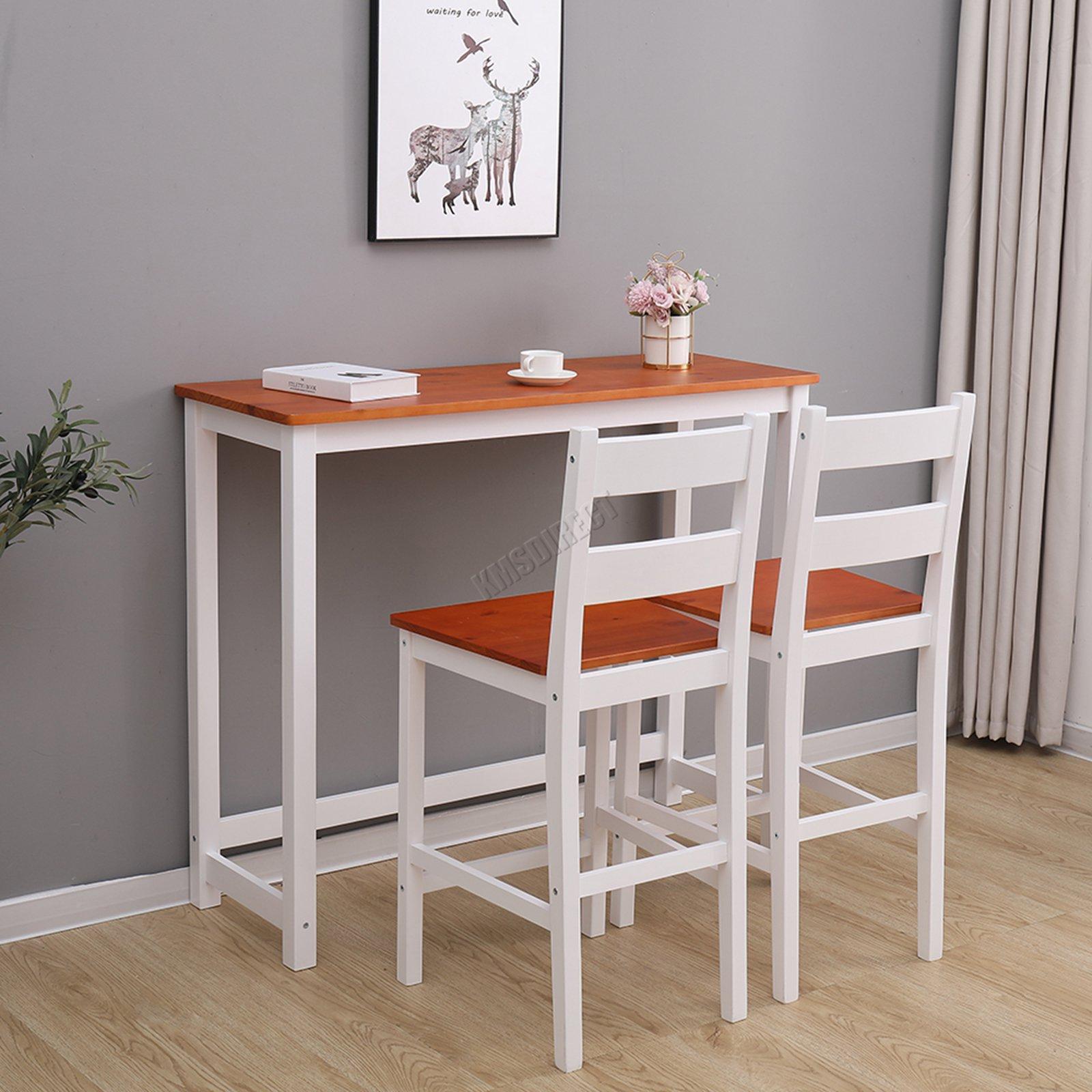 WestWood Breakfast Bar Table 2 X Stools Set Solid Pine ...